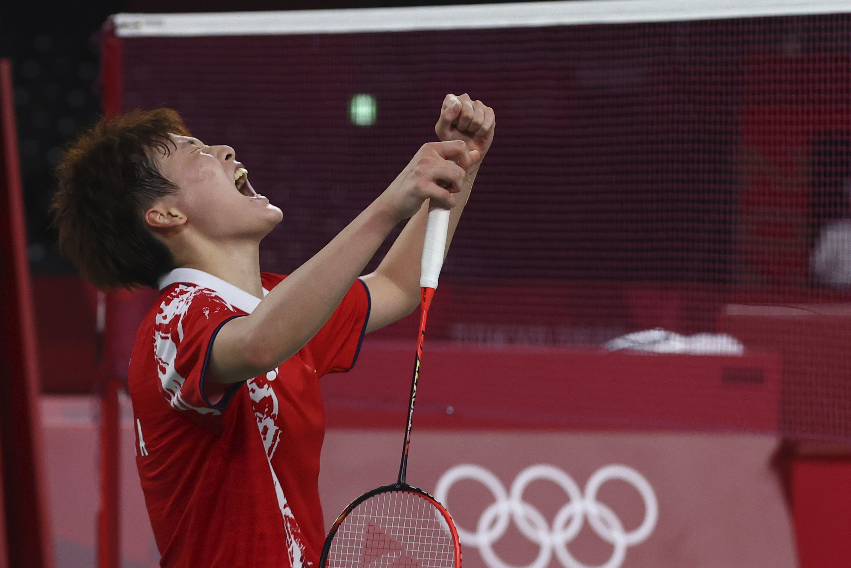 Tokyo 2020 Olympics - Badminton - Women's Singles - Gold medal match - MFS - Musashino Forest Sport Plaza, Tokyo, Japan – August 1, 2021.  Chen Yufei of China reacts after winning the match against Tai Tzu-Ying of Taiwan. REUTERS/Leonhard Foeger