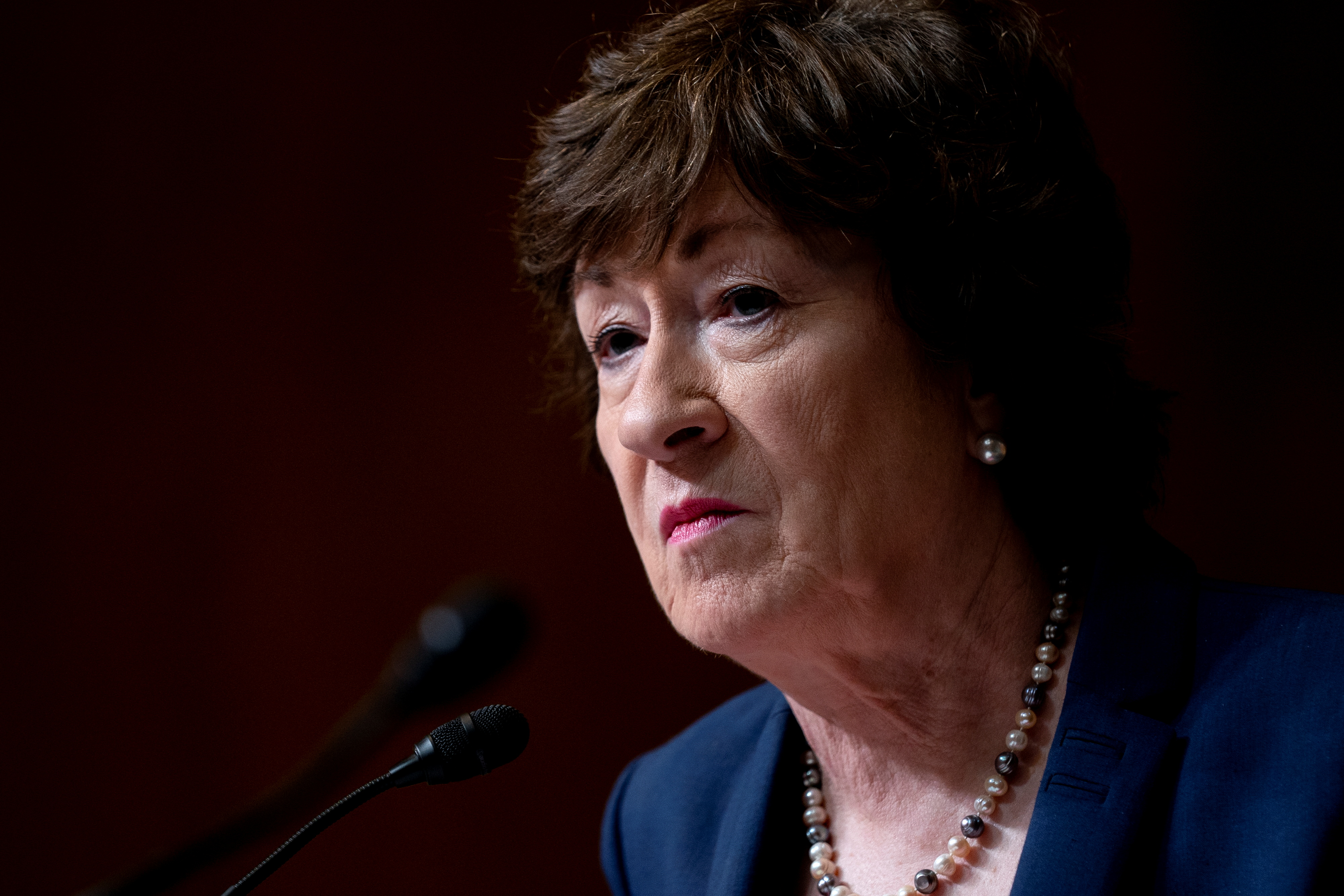 Senator Susan Collins (R-ME) speaks during a Senate Appropriations Subcommittee on Commerce, Justice, Science, and Related Agencies hearing at the Dirksen Senate Office building in Washington, D.C., U.S., June 9, 2021. Stefani Reynolds/Pool via REUTERS