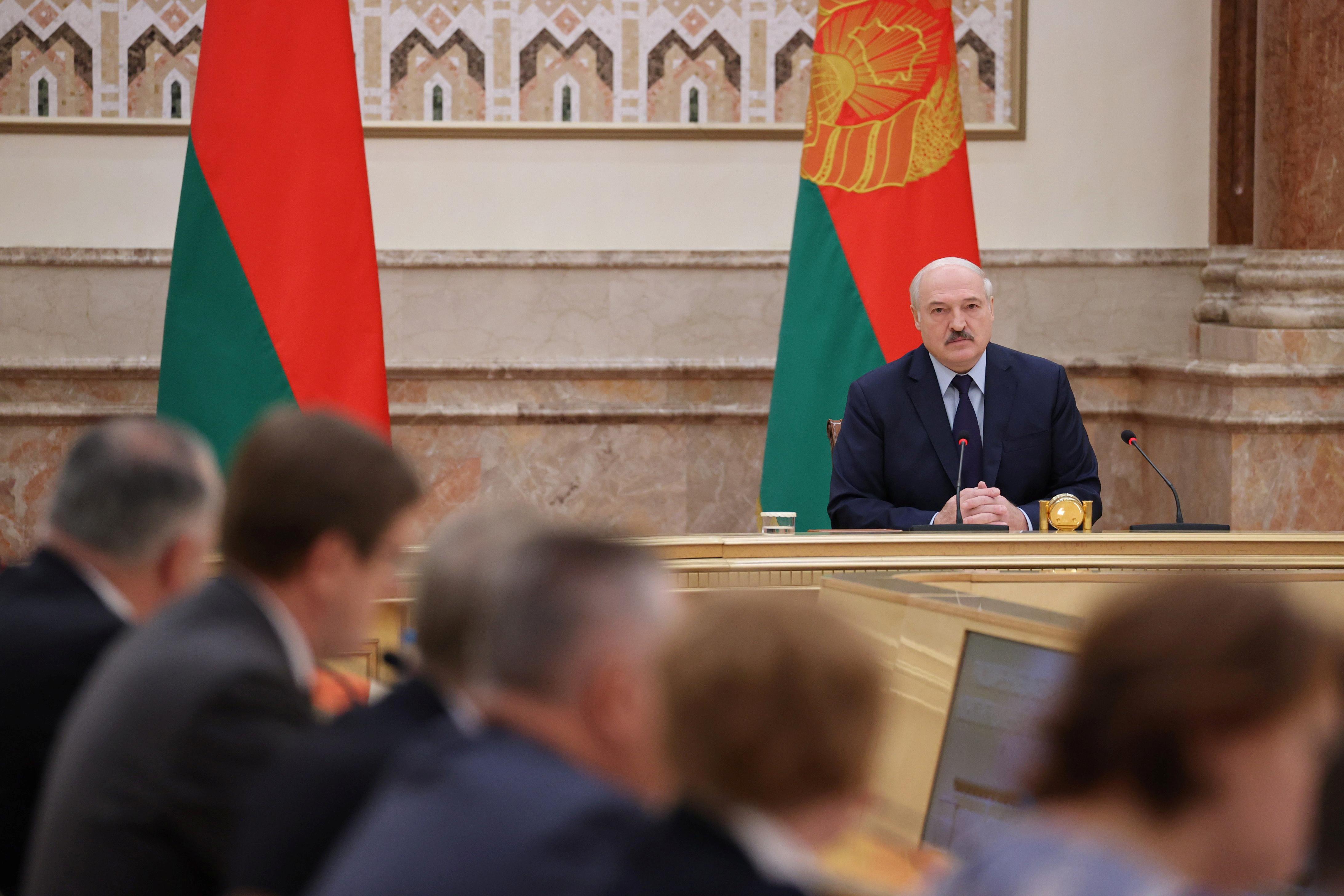 Belarusian President Alexander Lukashenko attends a meeting of the Constitutional Commission in Minsk, Belarus September 28, 2021. Maxim Guchek/BelTA/Handout via REUTERS