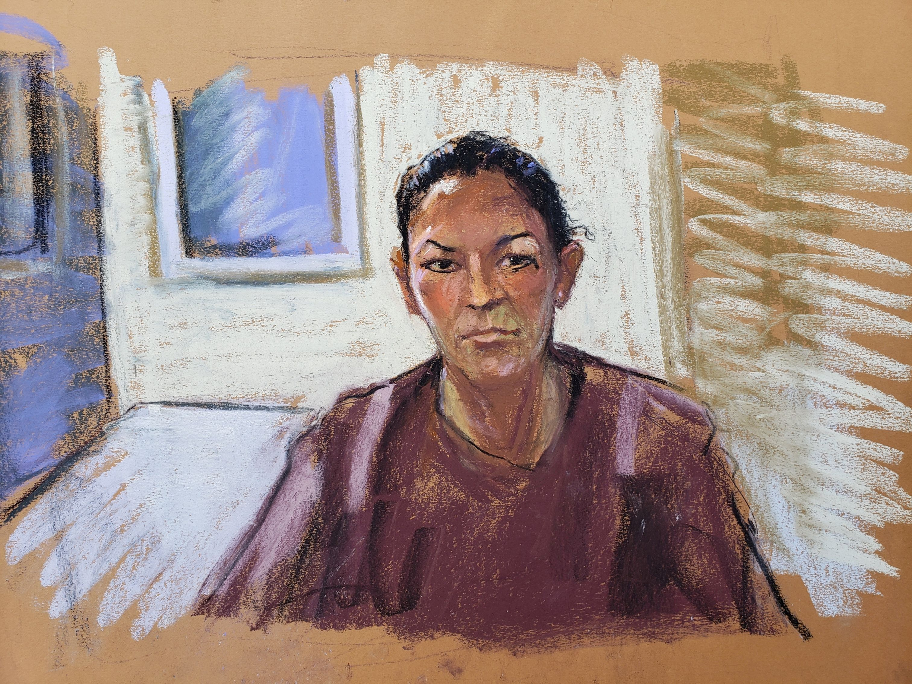 Ghislaine Maxwell appears via video link during her arraignment hearing where she was denied bail for her role aiding Jeffrey Epstein to recruit and eventually abuse of minor girls, in Manhattan Federal Court, in the Manhattan borough of New York City, New York, U.S. July 14, 2020 in this courtroom sketch. REUTERS/Jane Rosenberg/File Photo