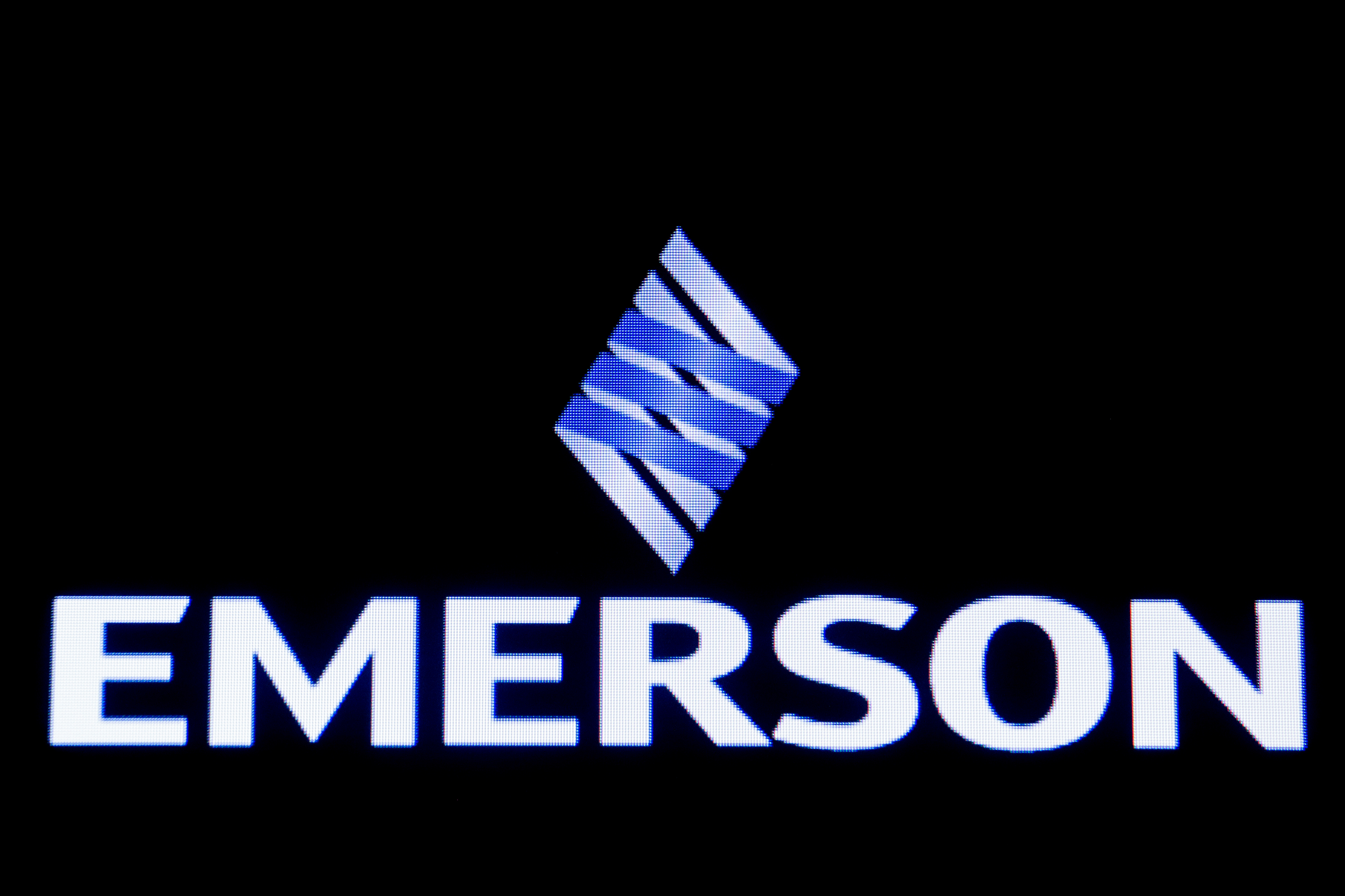 Emerson Electric Co is displayed on a screen on the floor at the New York Stock Exchange in New York, January 13, 2020. REUTERS/Brendan McDermid