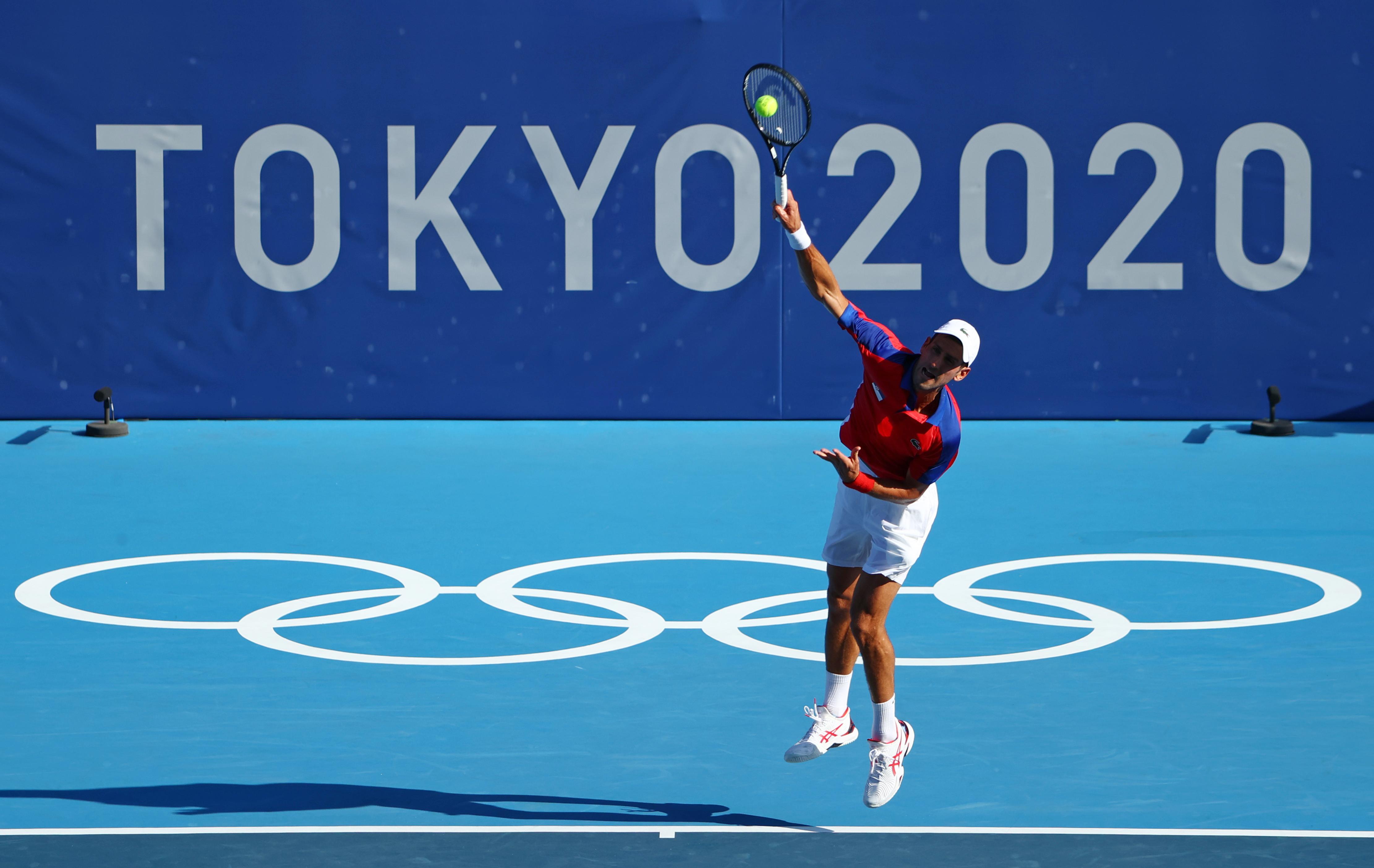 Tokyo 2020 Olympics - Tennis - Men's Singles - Round 1 - Ariake Tennis Park - Tokyo, Japan - July 24, 2021. Novak Djokovic of Serbia in action during his first round match against Hugo Dellien of Bolivia REUTERS/Mike Segar