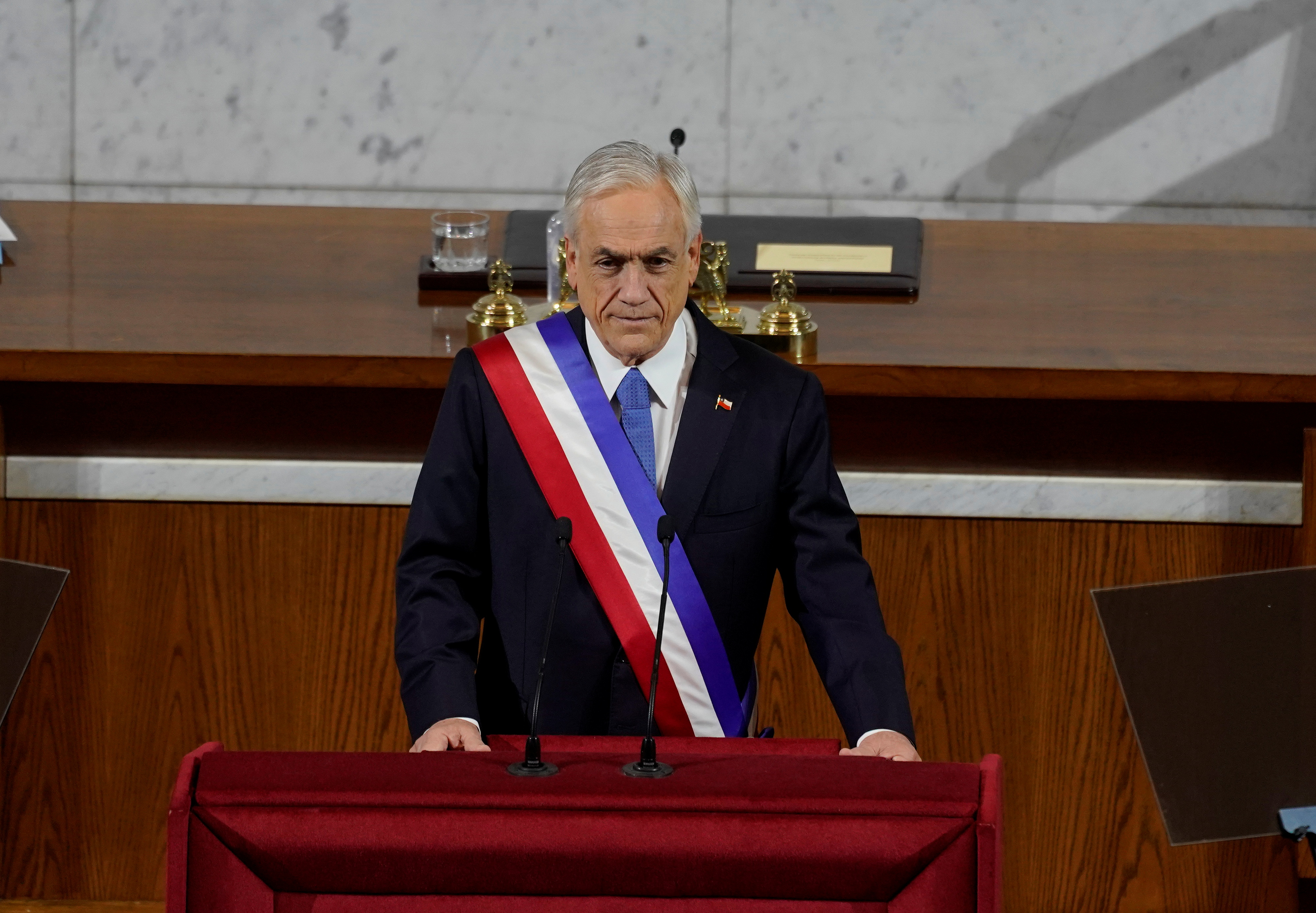 Chile's President Sebastian Pinera attends his annual State of the Nation address in Santiago, Chile June 1, 2021. Chile Presidency/Handout via REUTERS