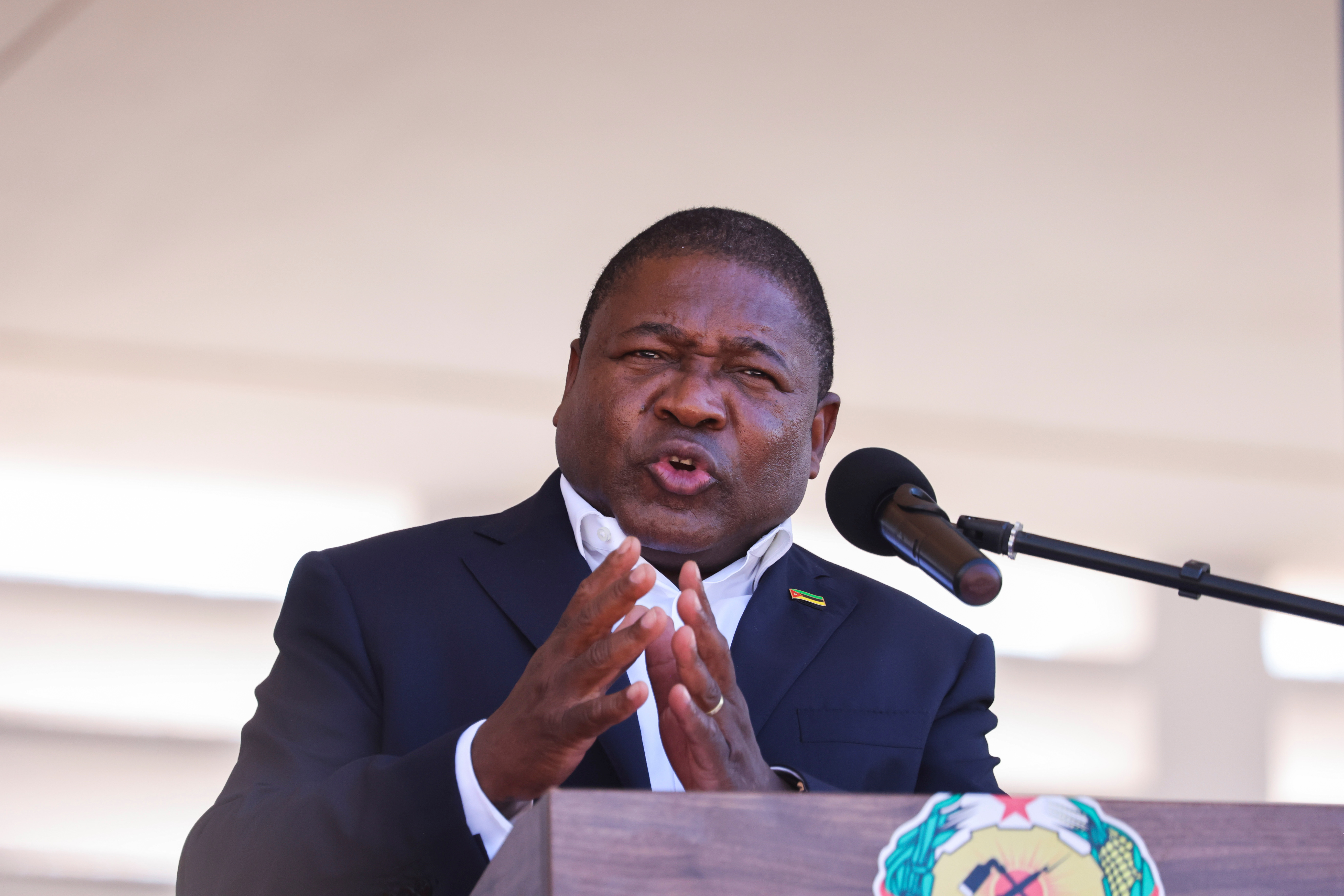 Mozambique's President Filipe Nyusi speaks during Armed Forces Day celebrations in Pemba, Mozambique. September 25, 2021.REUTERS/Baz Ratner