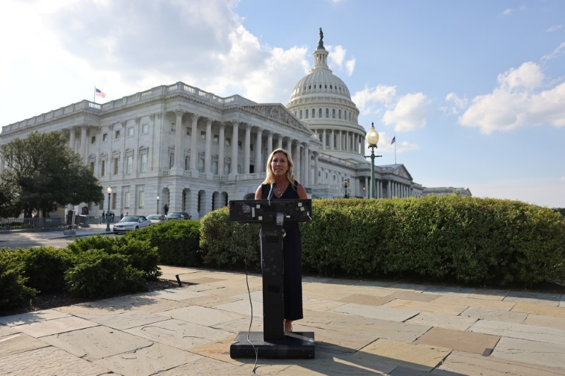 Representative Marjorie Taylor Greene (R-GA) holds a press conference outside the U.S. Capitol following a private visit to the Holocaust Museum, to express contrition for previous remarks about Jewish people, in Washington, U.S. June 14, 2021. REUTERS/Evelyn Hockstein