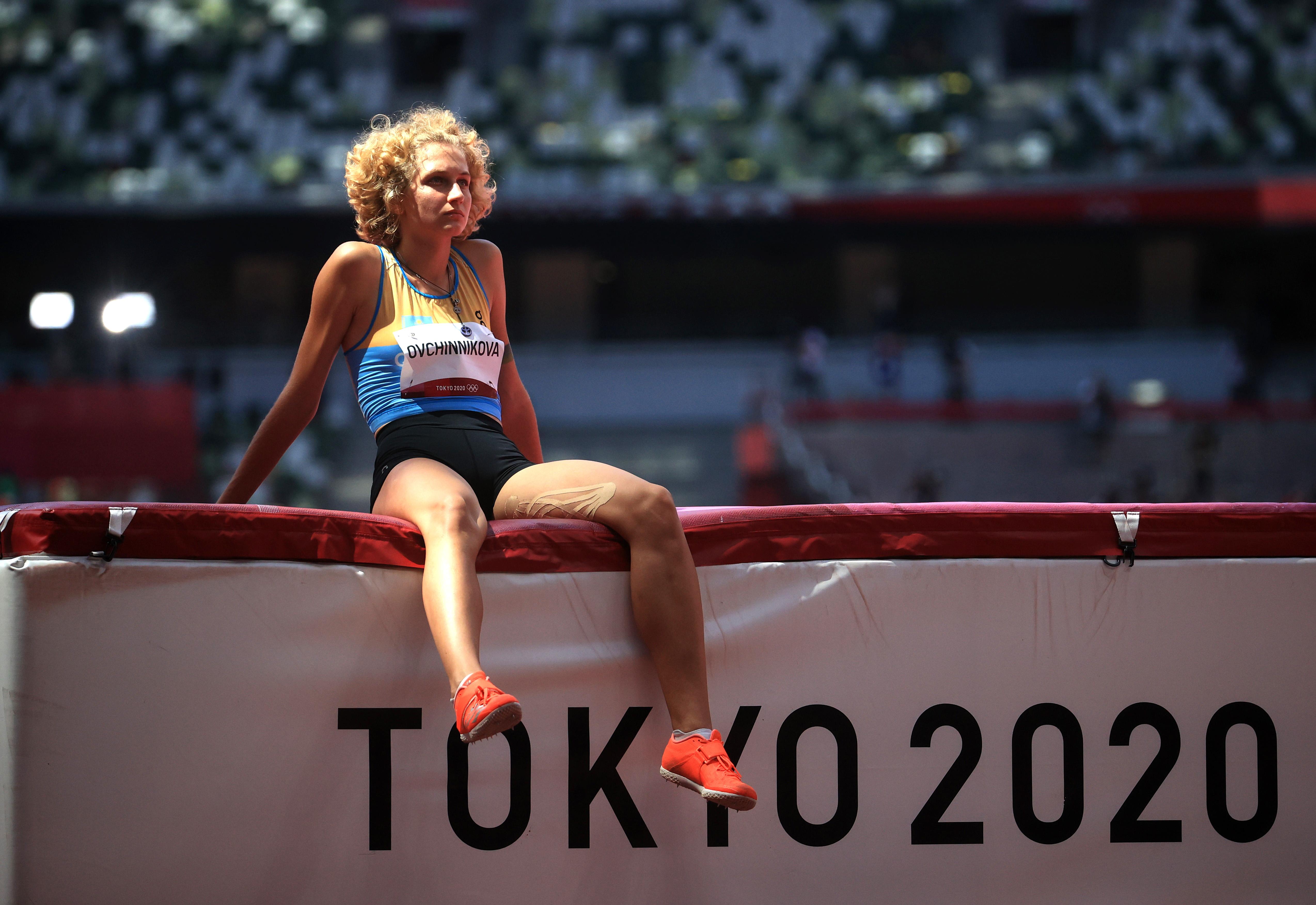 Tokyo 2020 Olympics - Athletics - Women's High Jump - Qualification - Olympic Stadium, Tokyo, Japan - August 5, 2021. Kristina Ovchinnikova of Kazakhstan reacts REUTERS/Hannah Mckay - SP1EH8503XNIA