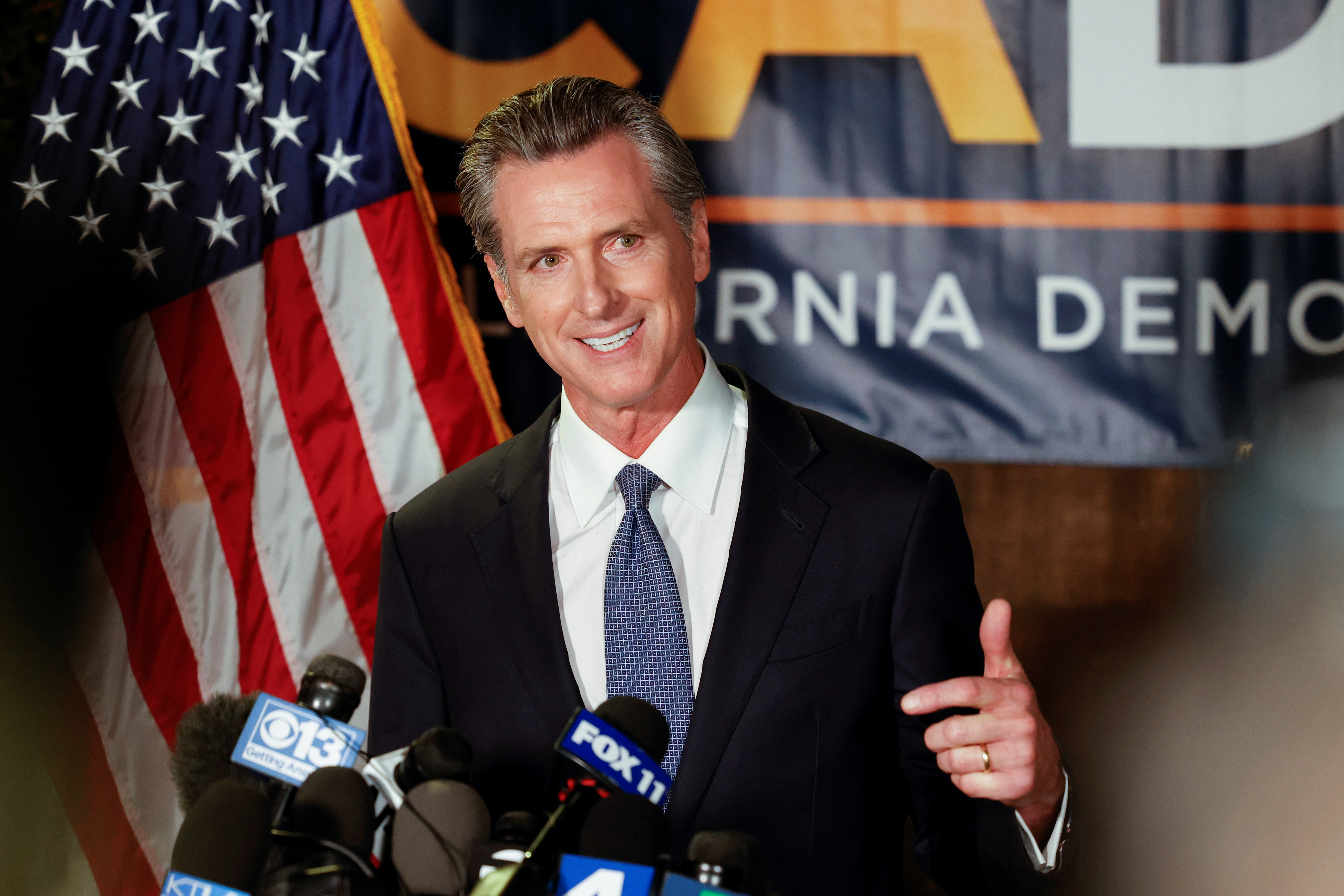 California Governor Gavin Newsom speaks after the polls close on the recall election, at the California Democratic Party headquarters in Sacramento, California, U.S., September 14, 2021.  REUTERS/Fred Greaves