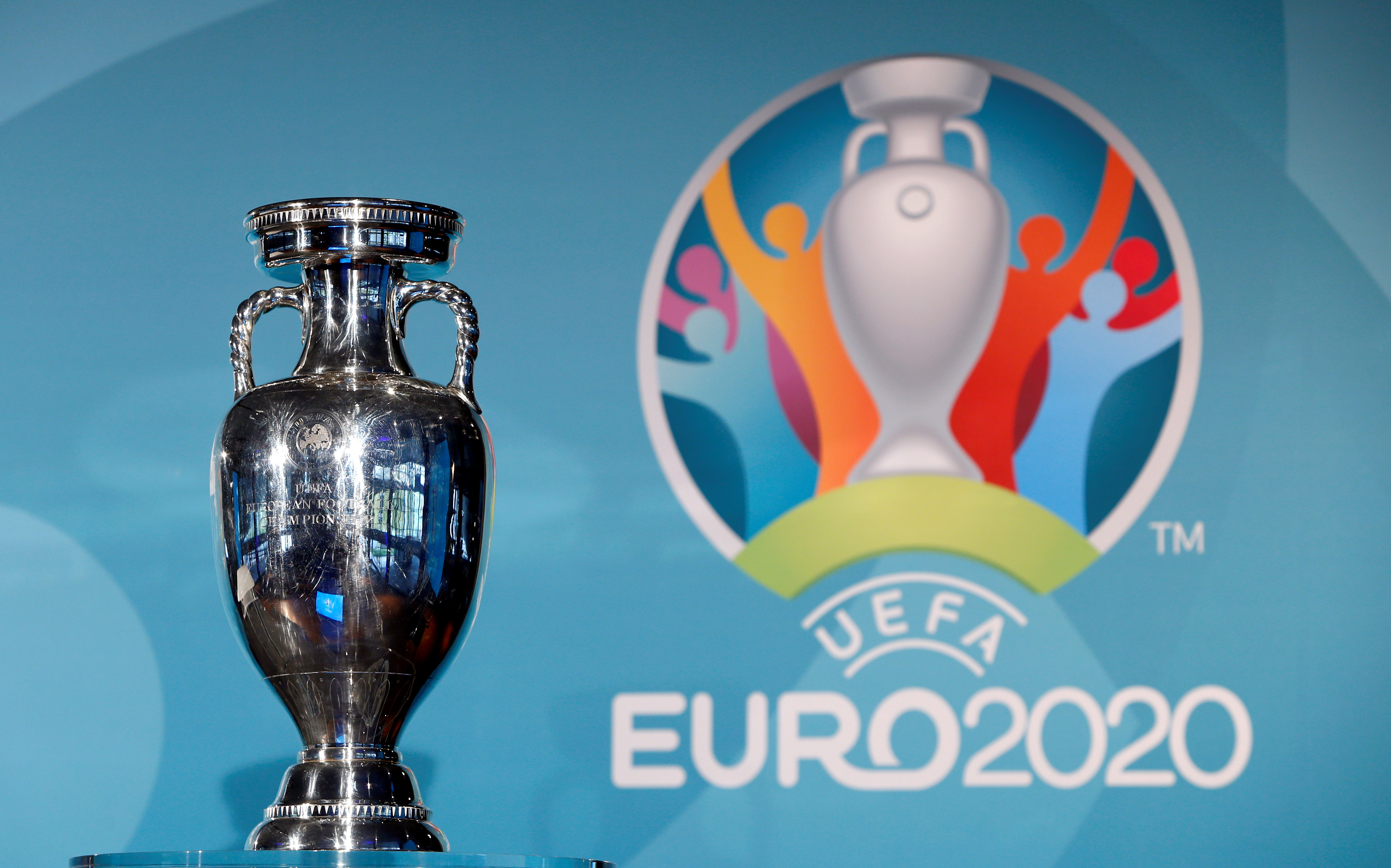 Football Soccer - UEFA Euro 2020 Munich Logo Launch - Olympia Park, Munich, Germany - 27/10/16. The trophy is seen during logo launch. REUTERS/Michaela Rehle
