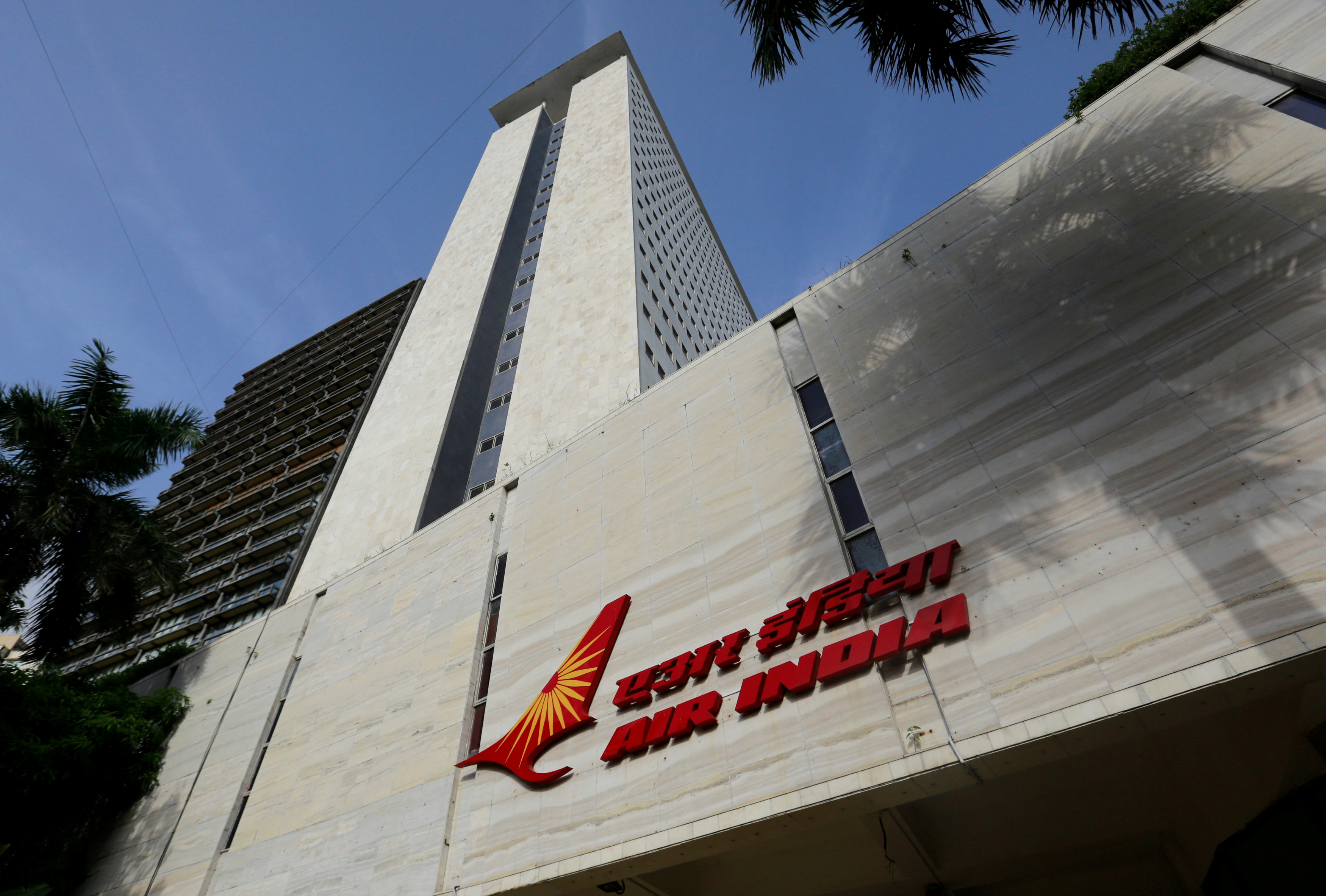 The Air India logo is seen on the facade of its office building in Mumbai, India, July 7, 2017. REUTERS/Danish Siddiqui