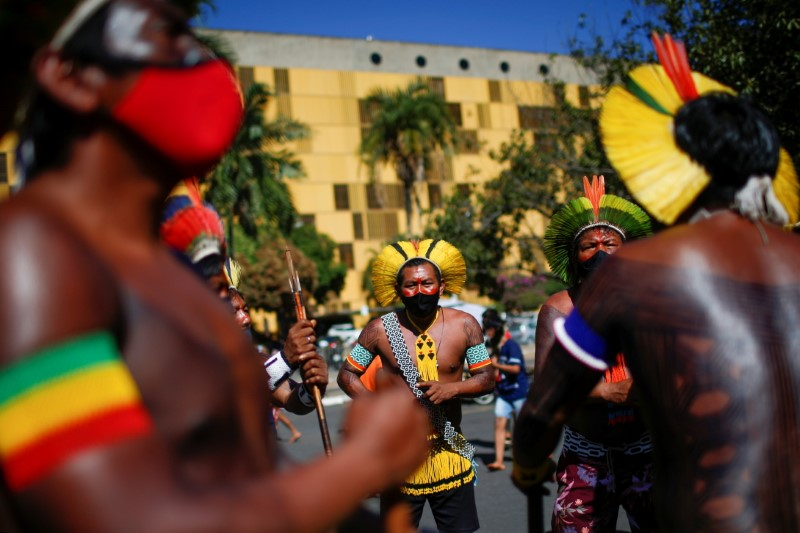 Indigenous Brazilians from different ethnic groups take part in a protest to defend demarcation of indigenous lands next the National Congress in Brasilia, Brazil June 16, 2021. REUTERS/Adriano Machado