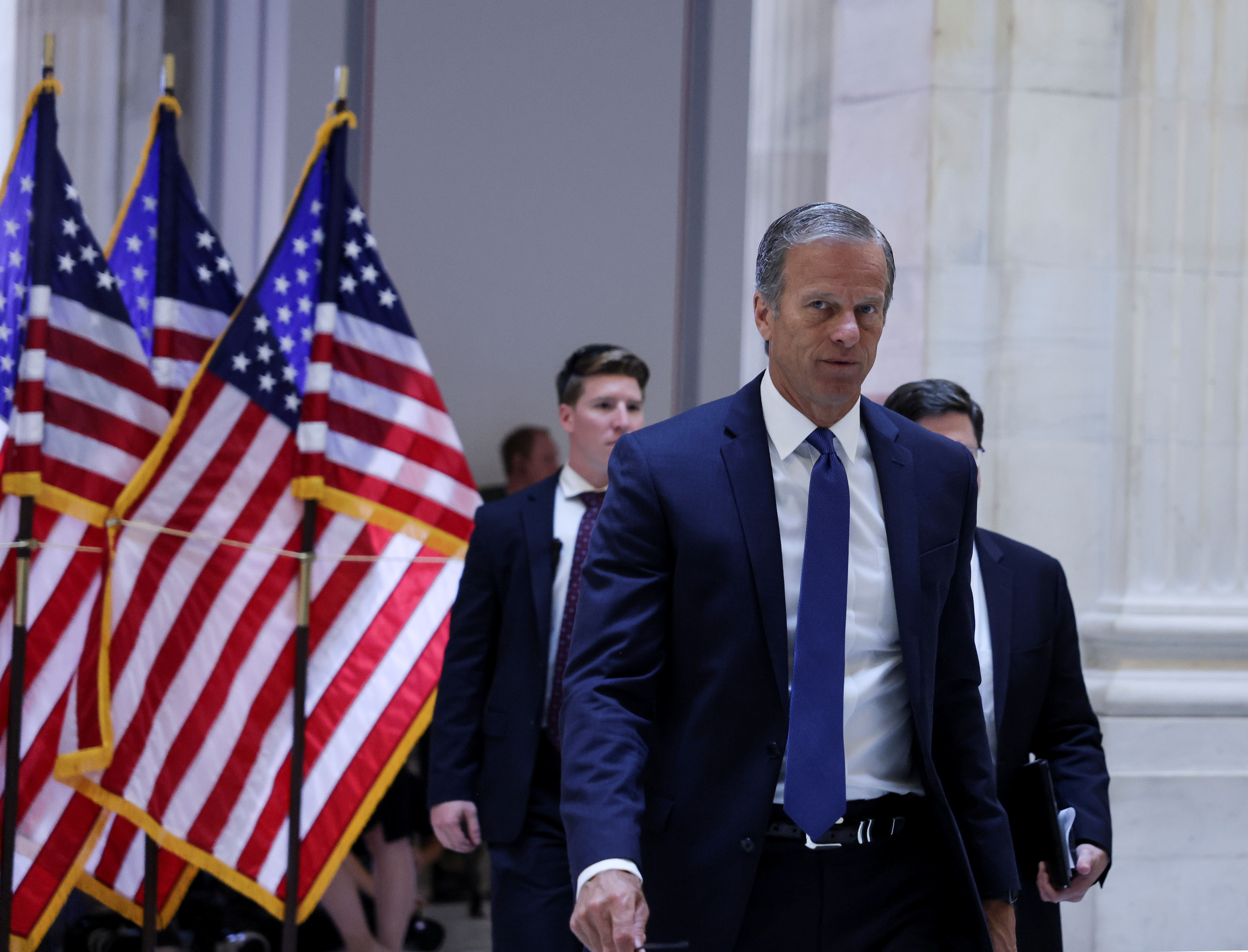 U.S. Senator John Thune (R-SD) arrives for the weekly Senate Republican caucus policy luncheon on Capitol Hill in Washington, U.S., June 8, 2021. REUTERS/Evelyn Hockstein