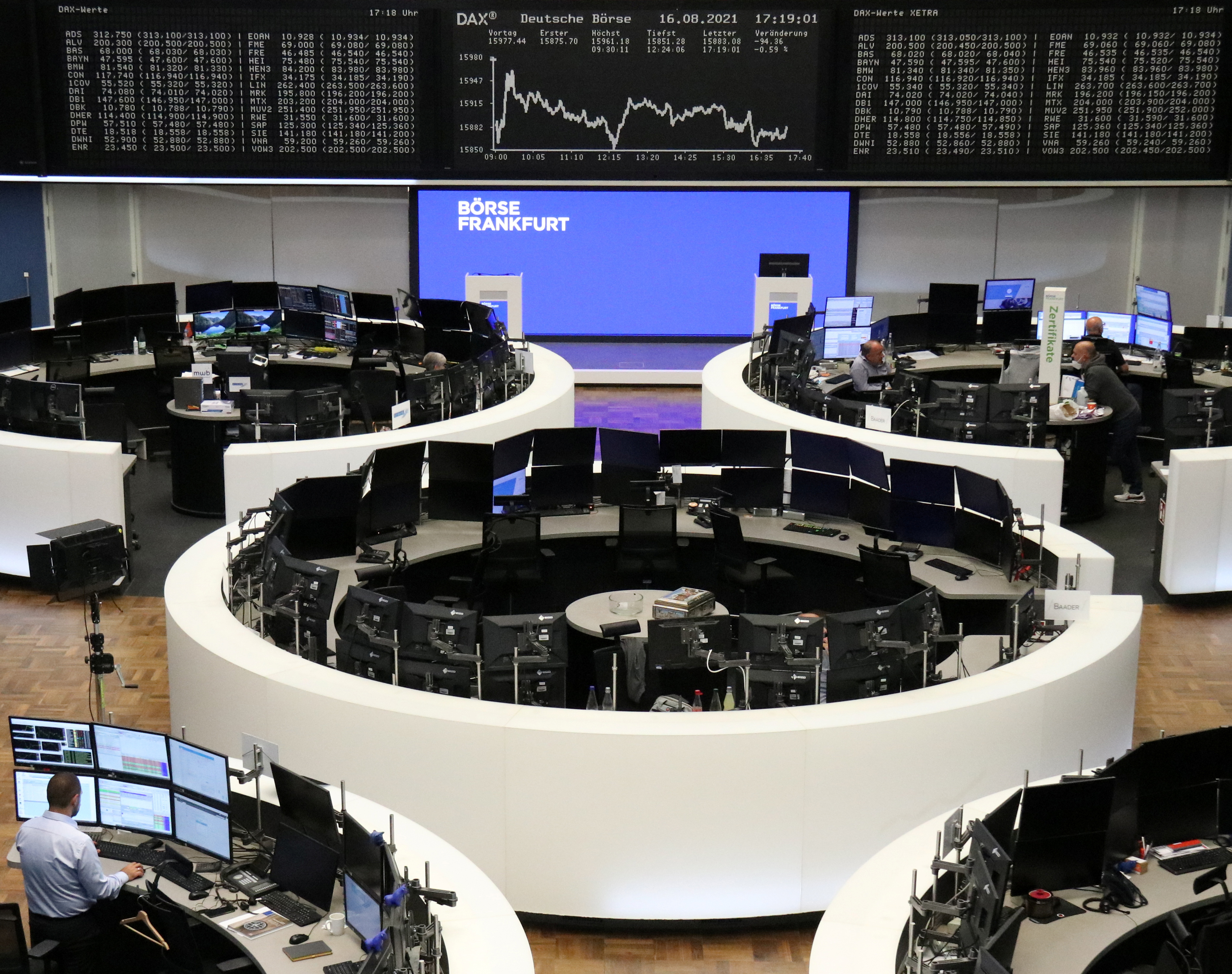 The German share price index DAX graph is pictured at the stock exchange in Frankfurt, Germany August 16, 2021. REUTERS/Staff