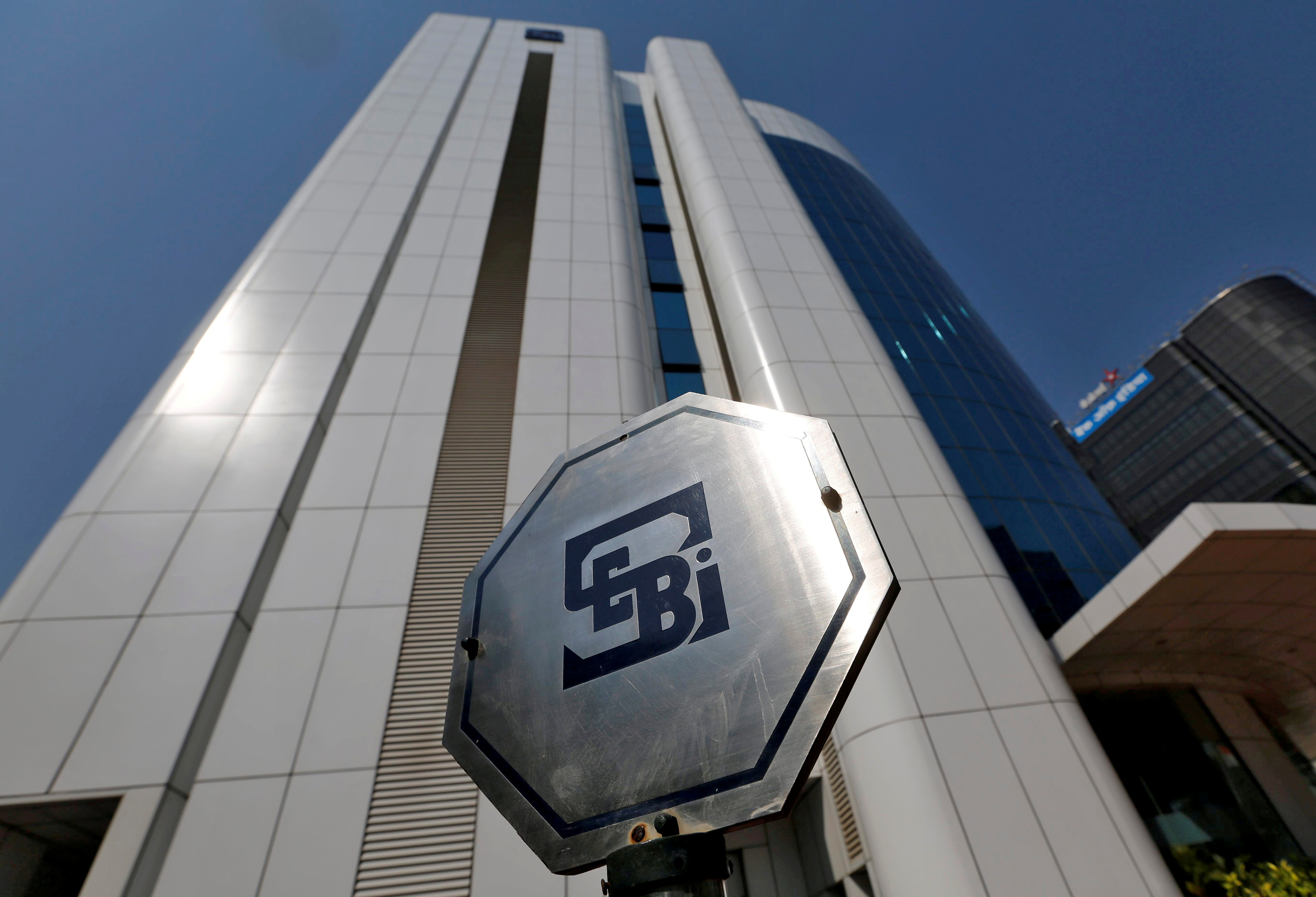 The logo of the Securities and Exchange Board of India (SEBI) is pictured on the premises of its headquarters in Mumbai, India, March 1, 2017. REUTERS/Shailesh Andrade/File Photo