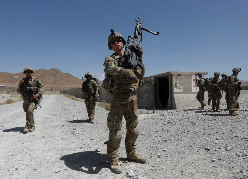 U.S. troops patrol at an Afghan National Army (ANA) base in Logar province, Afghanistan August 7, 2018. REUTERS/Omar Sobhani/File Photo