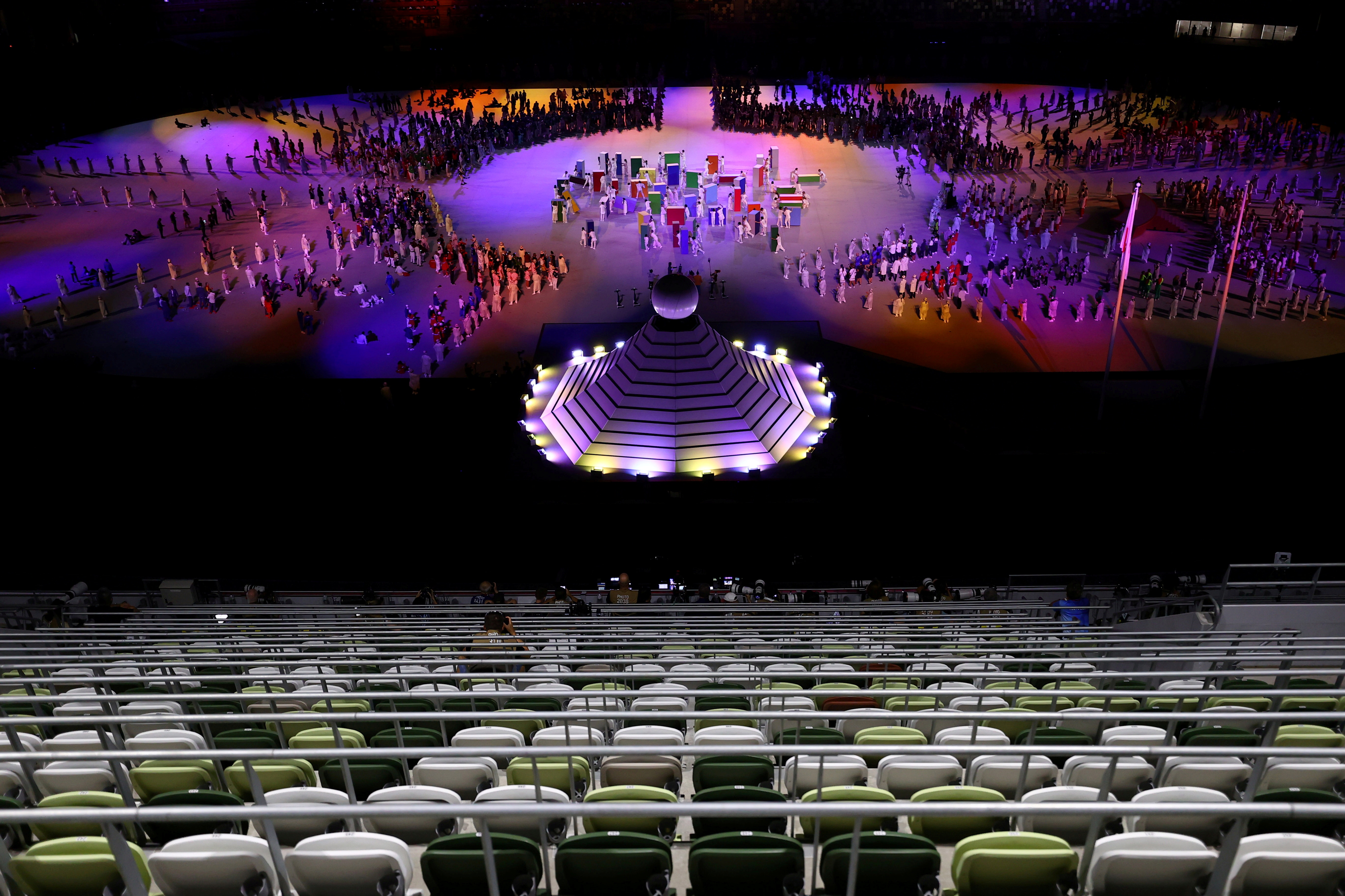 Tokyo 2020 Olympics - The Tokyo 2020 Olympics Opening Ceremony - Olympic Stadium, Tokyo, Japan - July 23, 2021. Empty seats in the stadium during the opening ceremony REUTERS/Leonhard Foeger/File Photo