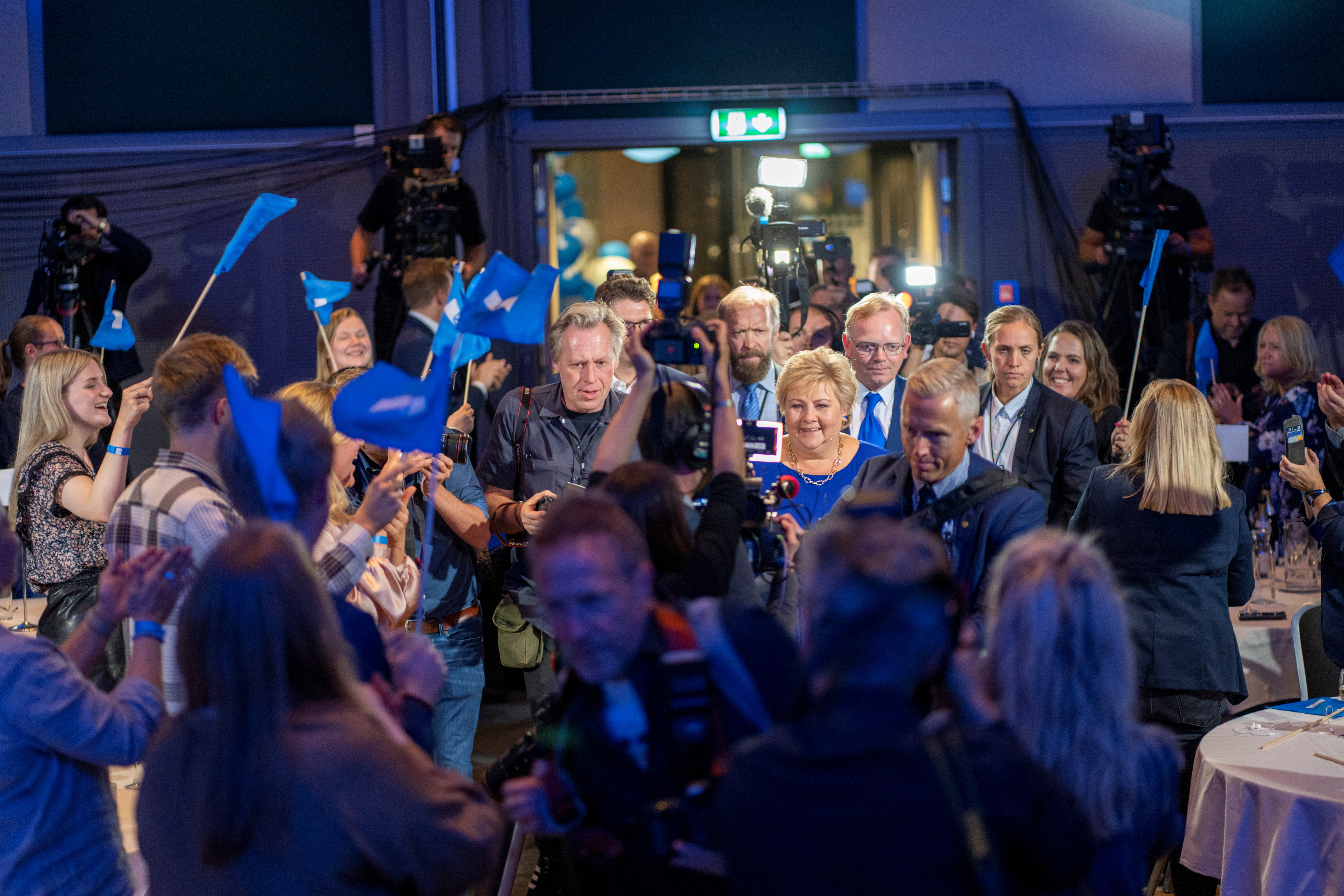 Norwegian Prime Minister Erna Solberg, leader of the Conservative Party, during the Conservative Party's election vigil at Radisson Blu Scandinavia Hotel during parliamentary elections, in Oslo, Norway September 13, 2021. Heiko Junge/NTB via REUTERS