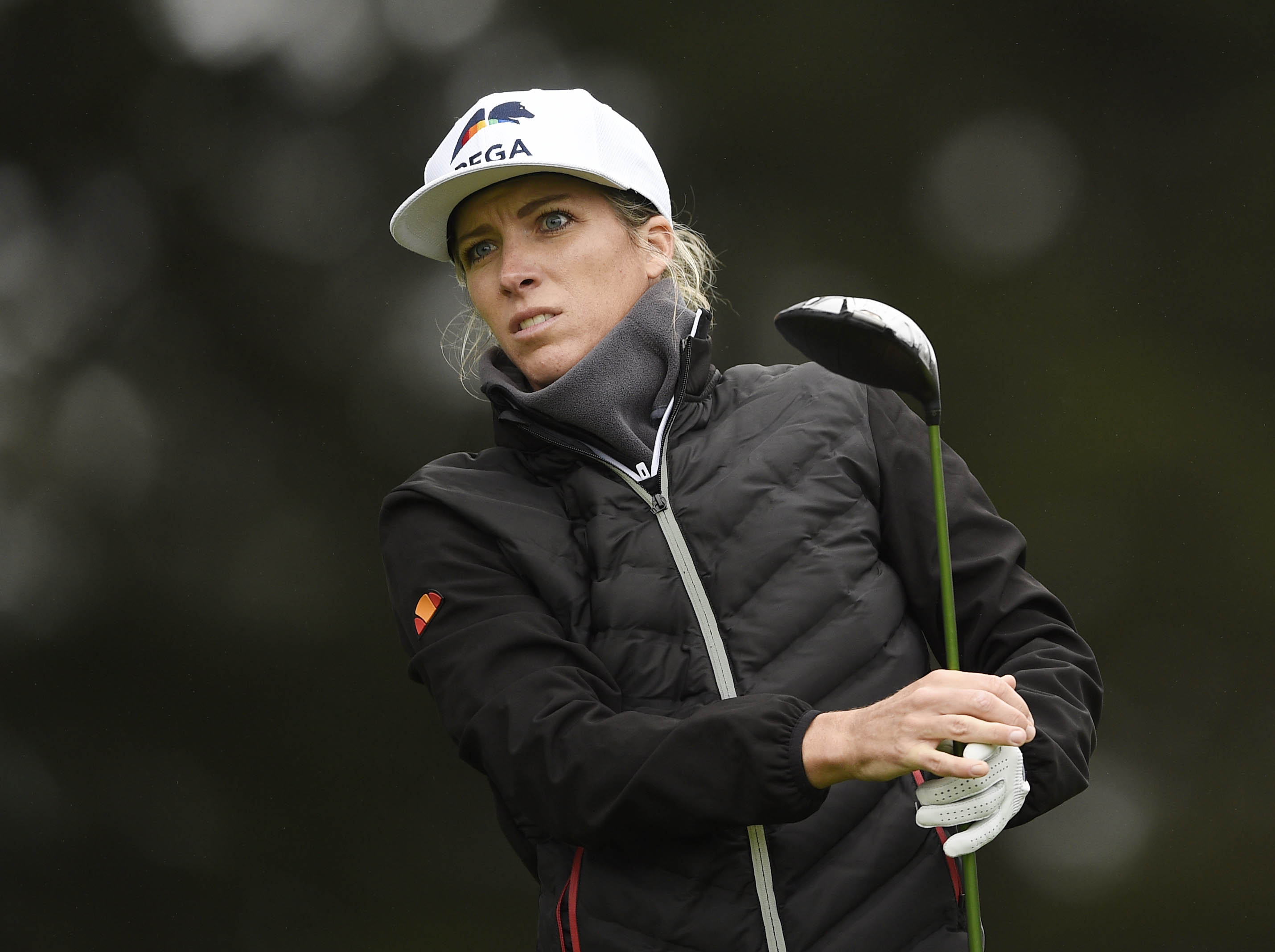 Jun 3, 2021; San Francisco, California, USA; Mel Reid hits her tee shot on the 10th hole during the first round of the U.S. Women's Open golf tournament at The Olympic Club. Mandatory Credit: Kelvin Kuo-USA TODAY Sports