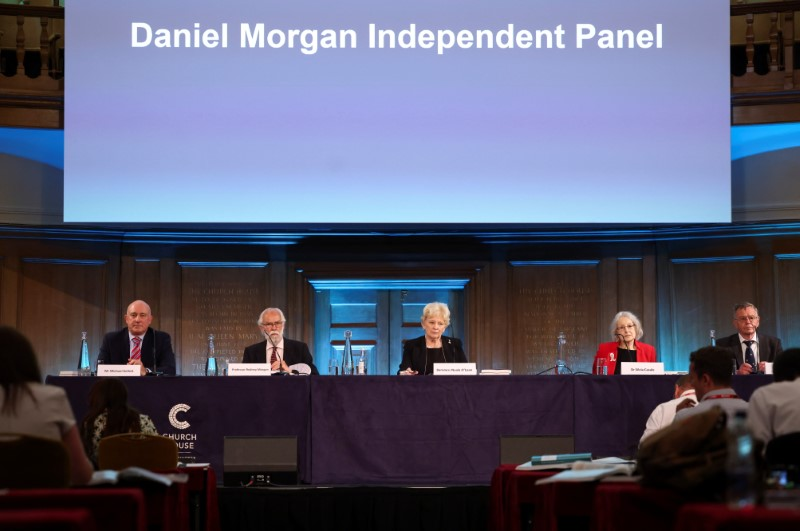 Panel members Michael Kellett, Rodney Morgan, Baroness Nuala O'Loan, Silvia Casale and Samuel Pollock prepare to read out a statement following the publication of the Daniel Morgan Independent Panel report, at Church House, in London, Britain, June 15, 2021. REUTERS/Henry Nicholls