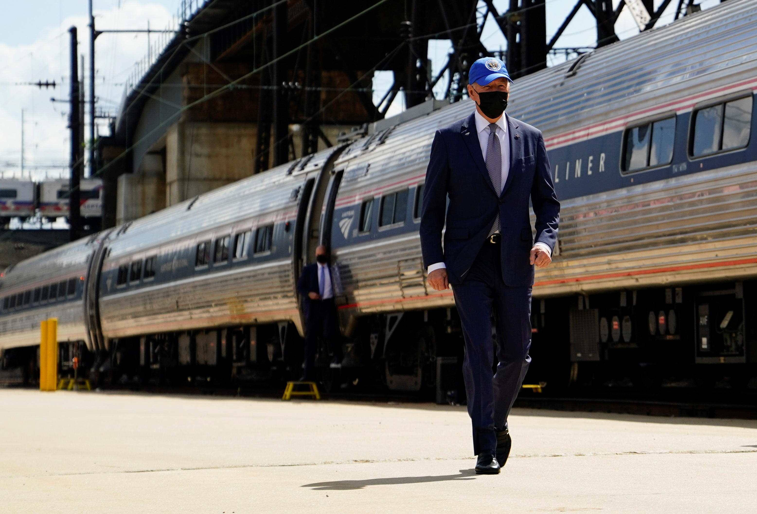 U.S. President Joe Biden arrives for an event marking Amtrak's 50th Anniversary, at the 30th Street Station in Philadelphia, Pennsylvania, U.S., April 30, 2021. REUTERS/Erin Scott