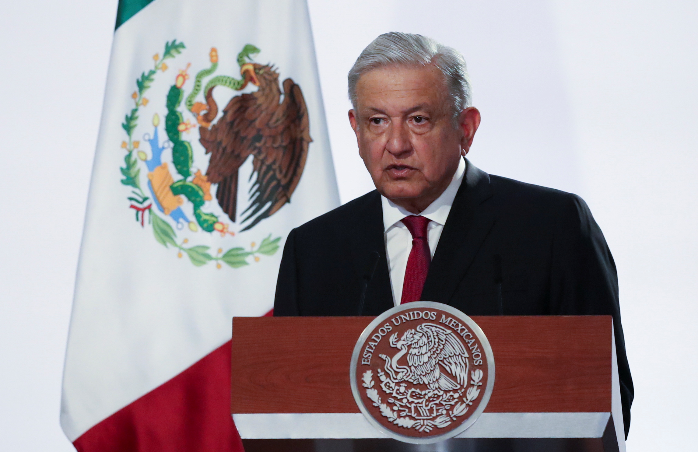 Mexico's President Andres Manuel Lopez Obrador speaks during a ceremony to deliver his third state of the union address at the National Palace in Mexico City, Mexico September 1, 2021. REUTERS/Edgard Garrido