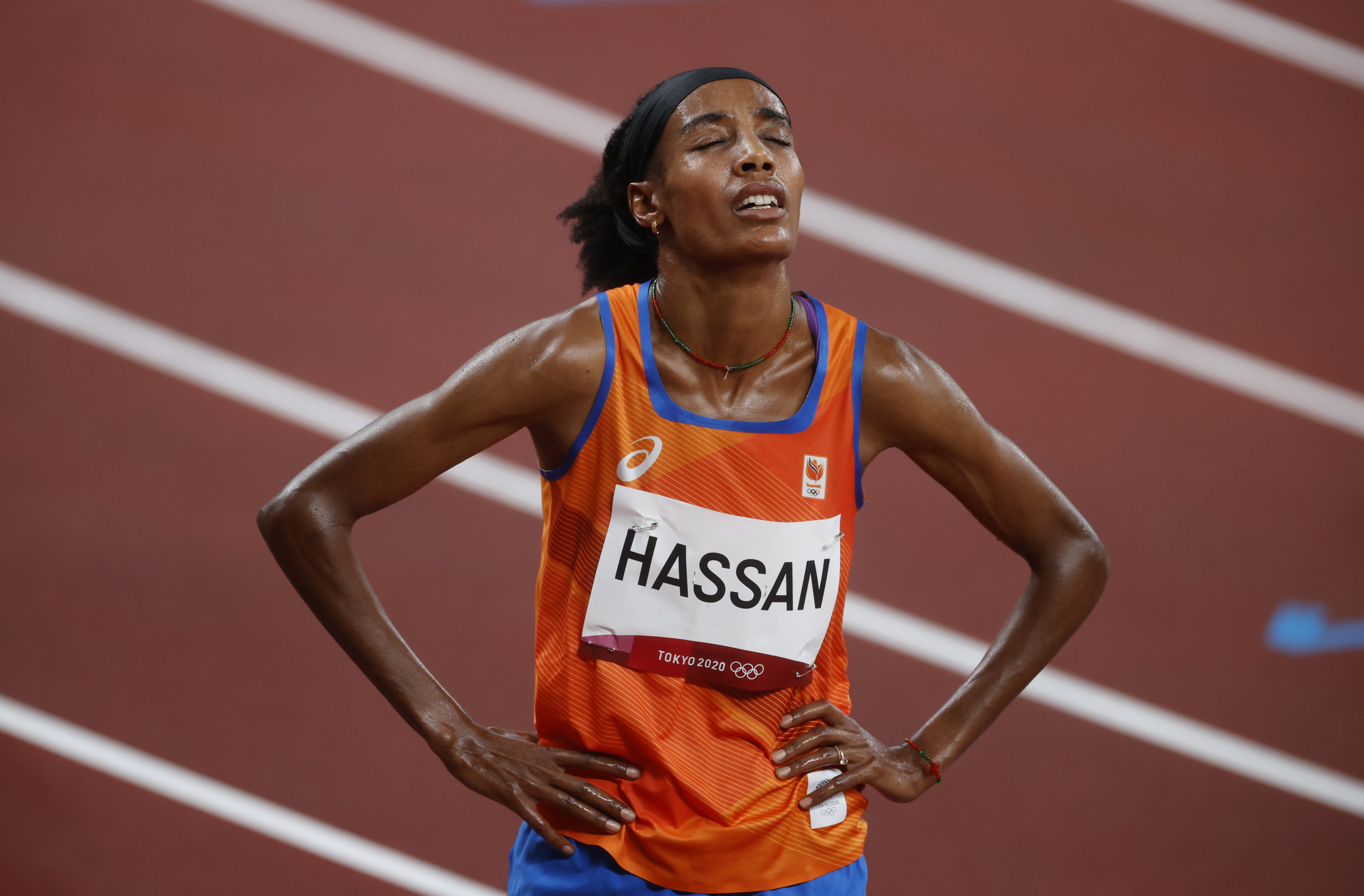 Tokyo 2020 Olympics - Athletics - Women's 5000m - Round 1 - OLS - Olympic Stadium, Tokyo, Japan - July 30, 2021. Sifan Hassan of the Netherlands reacts REUTERS/Phil Noble