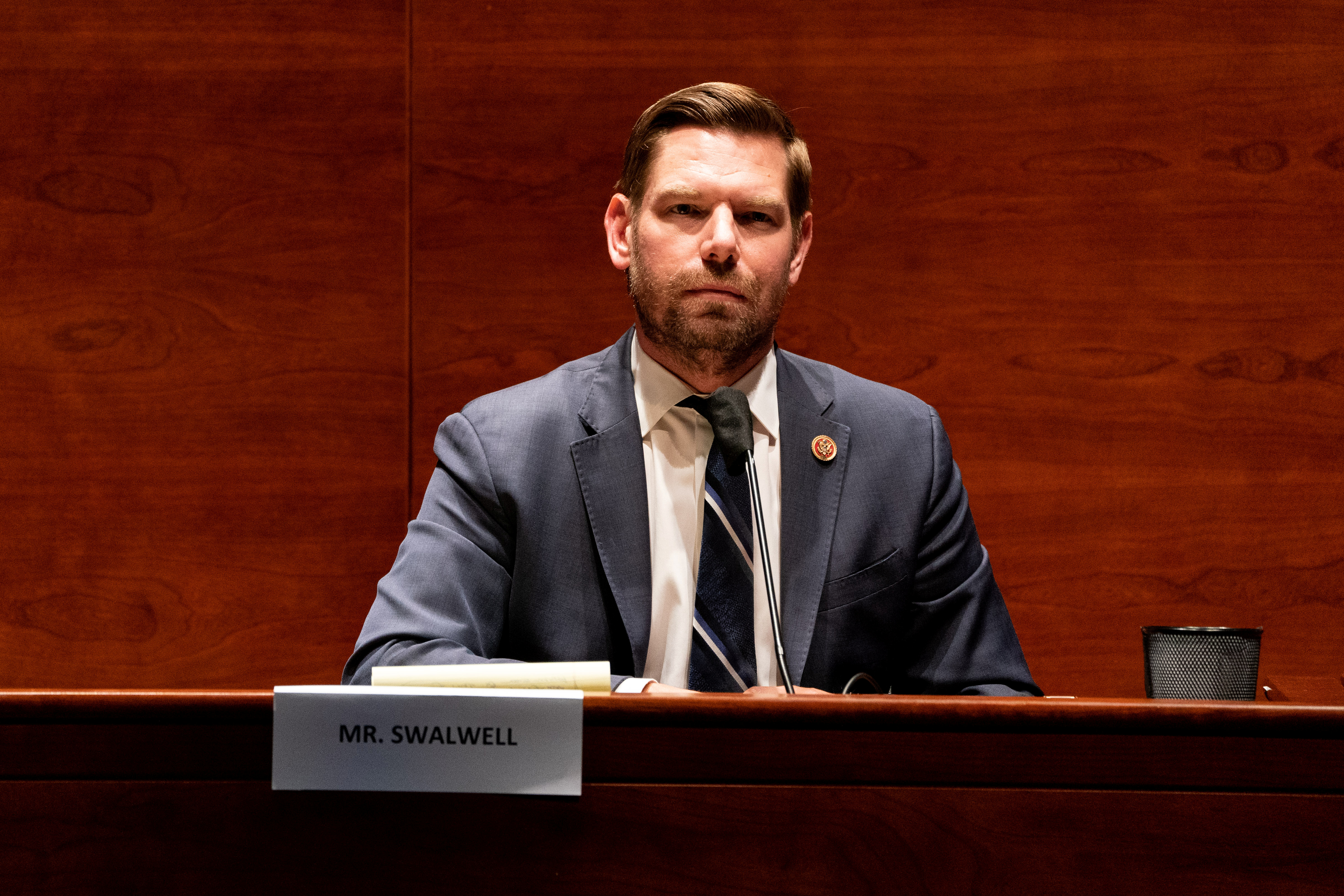 Rep. Eric Swalwell (D-CA) listens during a hearing of the U.S. House Judiciary Committee about political influence on law enforcement activity, including one who worked on Special Counsel Robert Mueller's Russia probe, in Washington, U.S. June 24, 2020.  Anna Moneymaker/Pool via REUTERS
