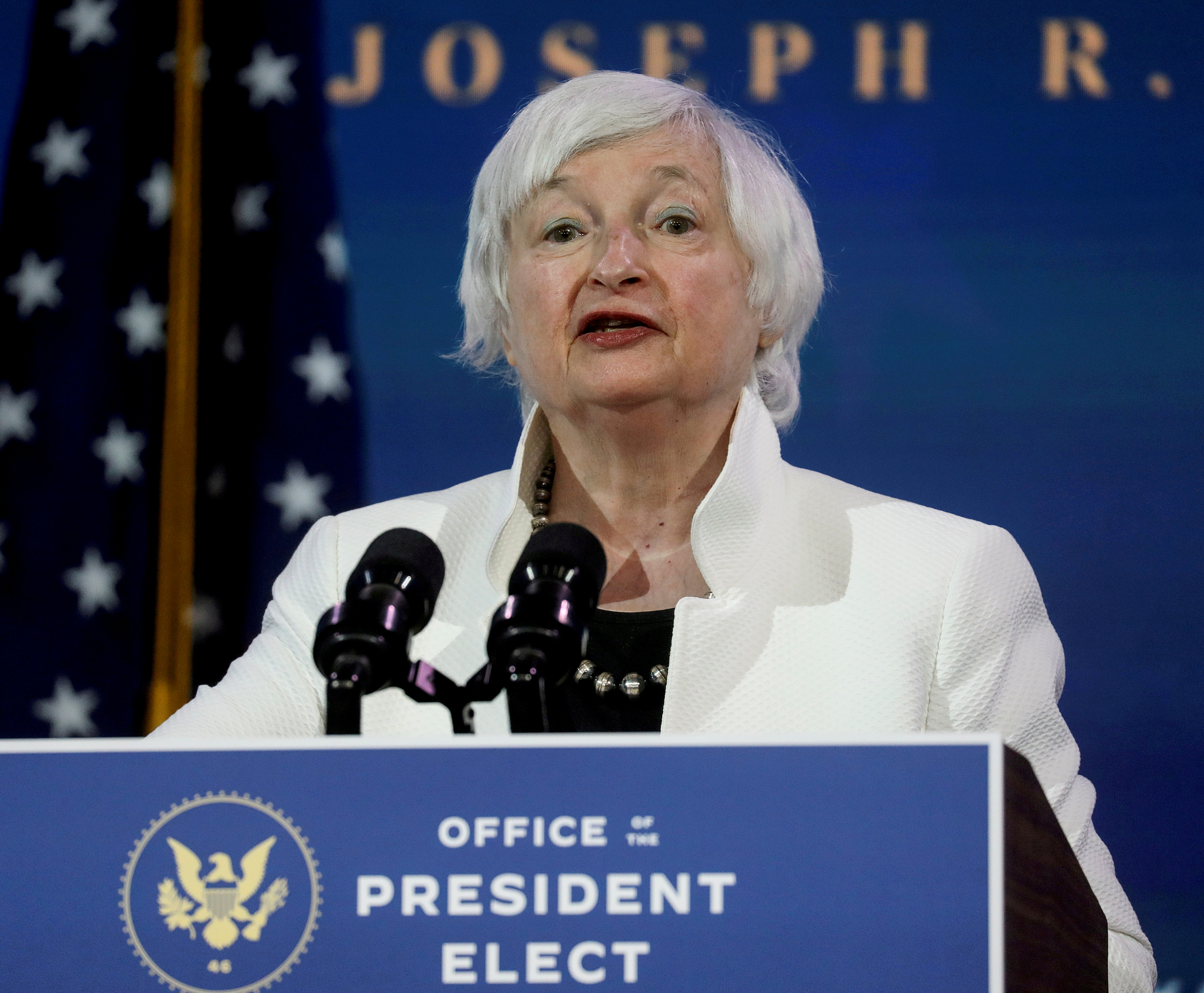 U.S. Treasury Secretary-designate Janet Yellen in Wilmington, Delaware, U.S., December 1, 2020. REUTERS/Leah Millis/File Photo