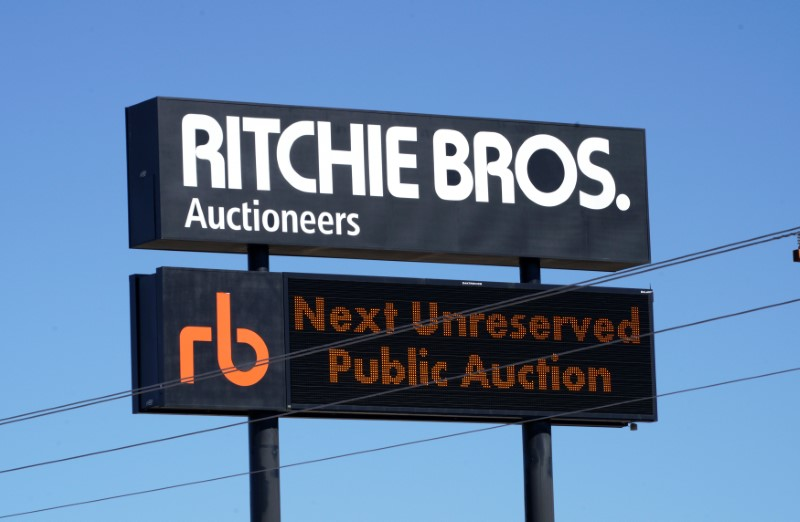 The sign outside Richie Bros. Auctioneers is seen in Longmont, Colorado, U.S., February 21, 2017. REUTERS/Rick Wilking/File photo