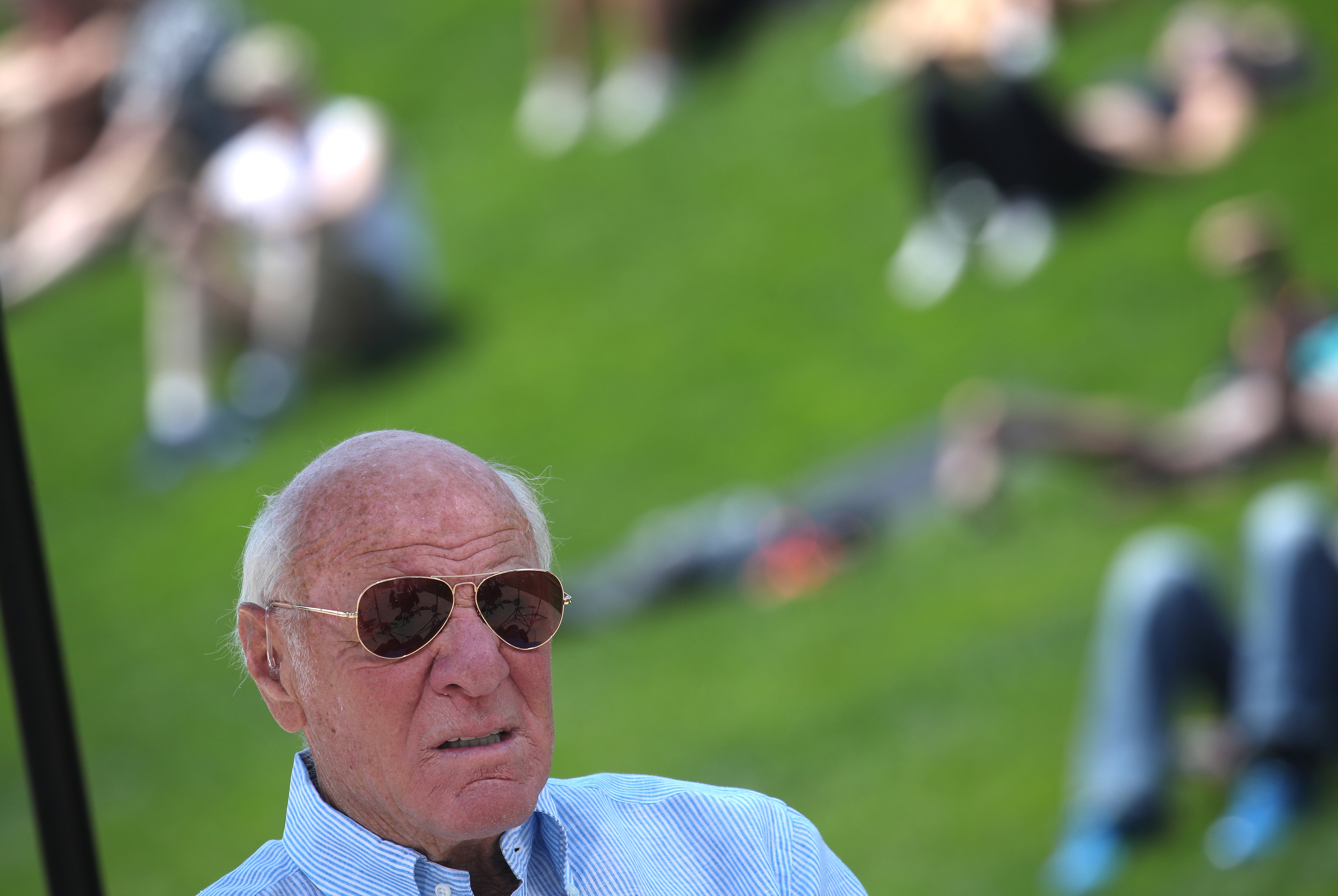 IAC Chairman Barry Diller at Little Island Park on Manhattan's West Side, during the park's opening day in New York City, May 21, 2021. REUTERS/Mike Segar