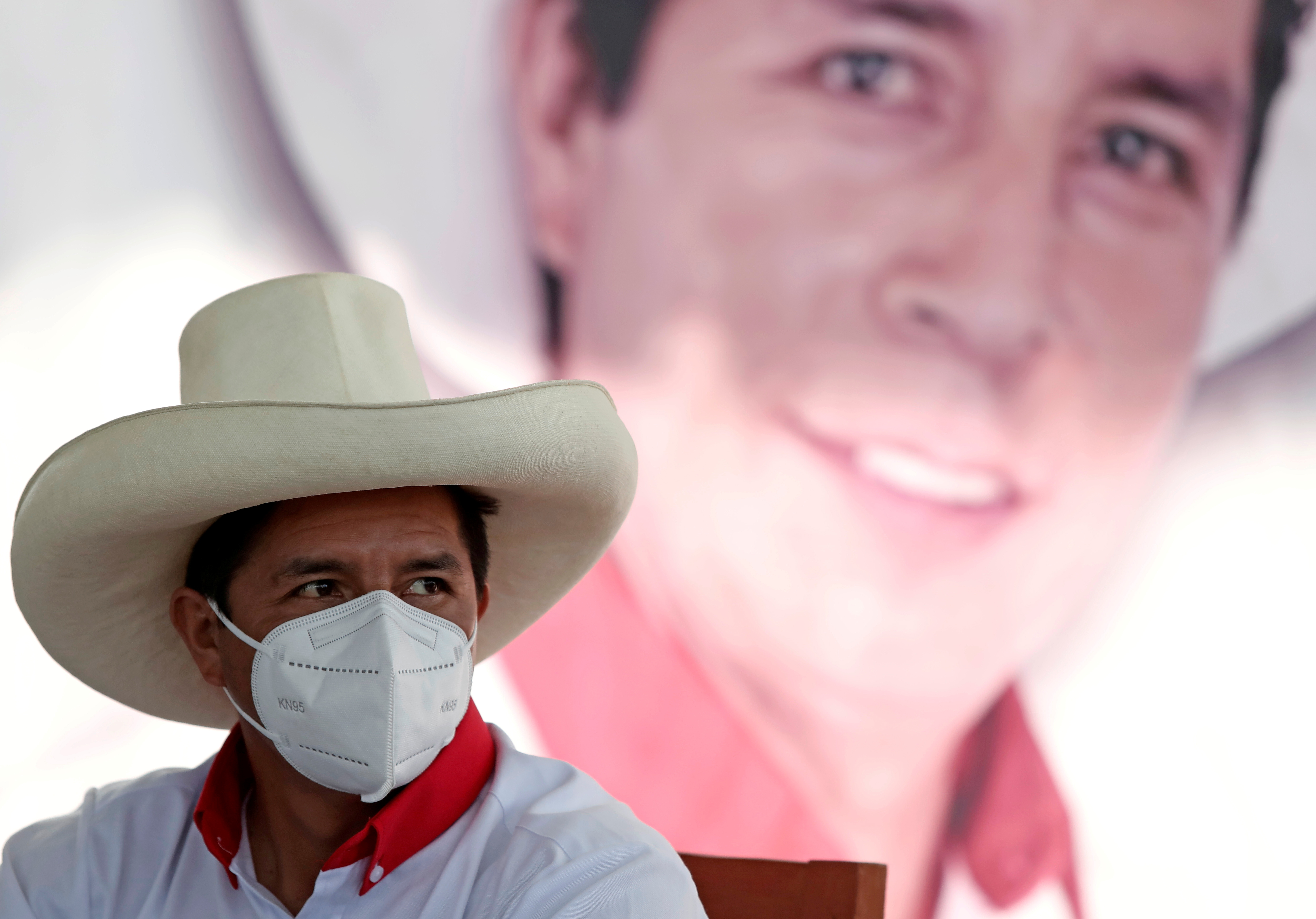 Peru's presidential candidate Pedro Castillo of Peru Libre party attends a news conference before a rally in Lima, Peru April 27, 2021. REUTERS/Angela Ponce