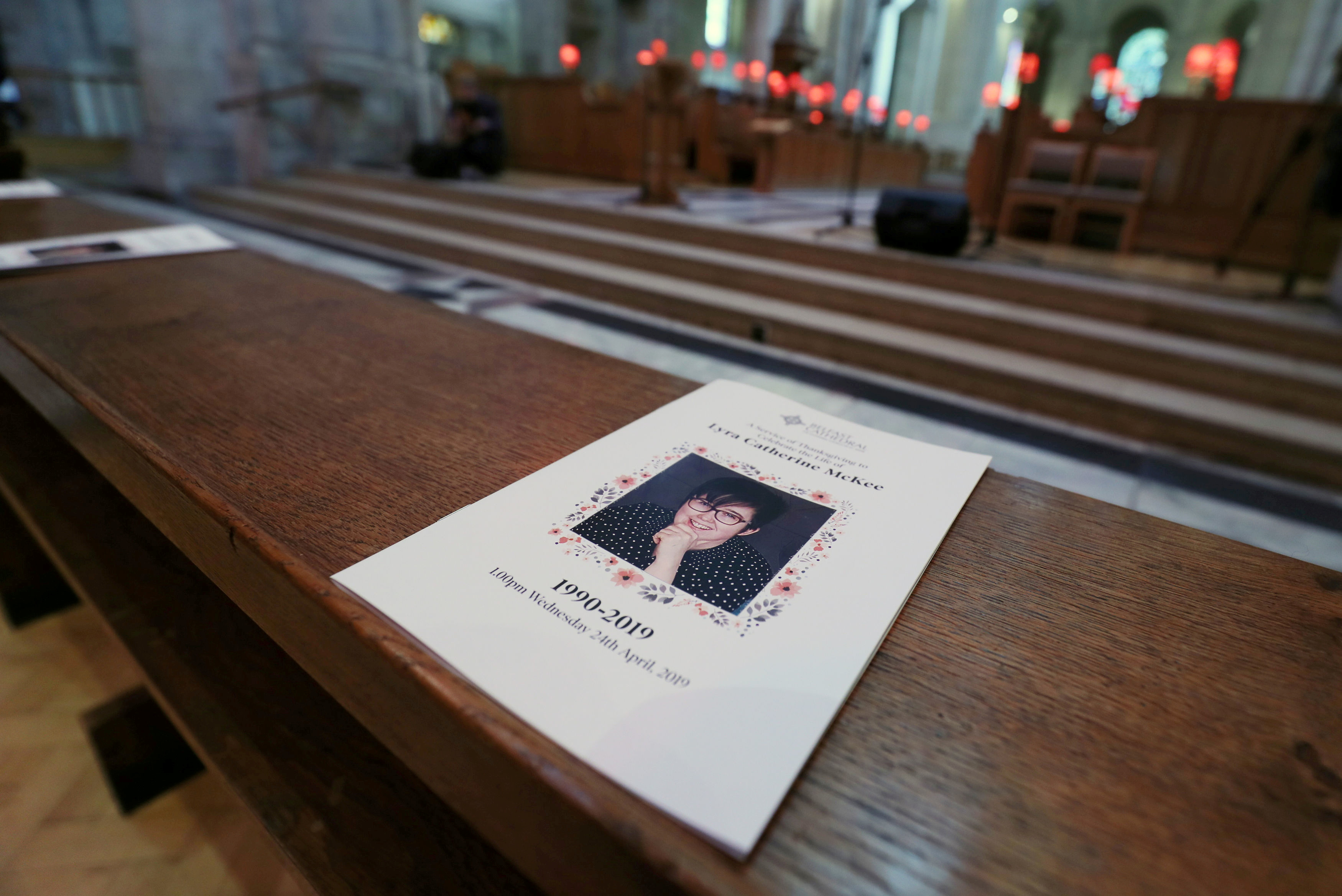 The service sheet for the funeral of murdered journalist Lyra McKee lies on a pew at St Anne's Cathedral in Belfast, Northern Ireland April 24, 2019. Brian Lawless/Pool via REUTERS/File Photo