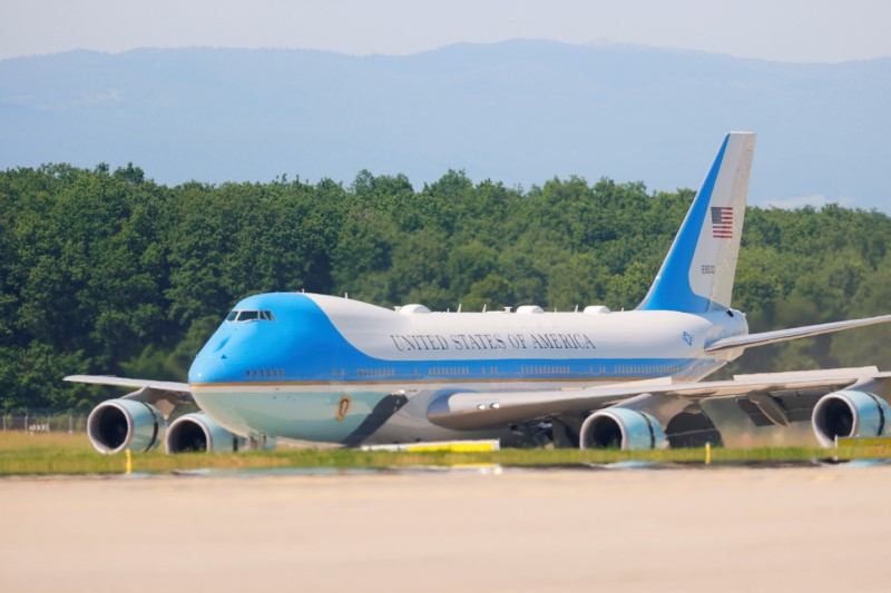 Air Force One with U.S. President Joe Biden arrives at Cointrin airport ahead of a meeting with Russian counterpart Vladimir Putin in Geneva, Switzerland, June 15, 2021. REUTERS/Denis Balibouse/Pool