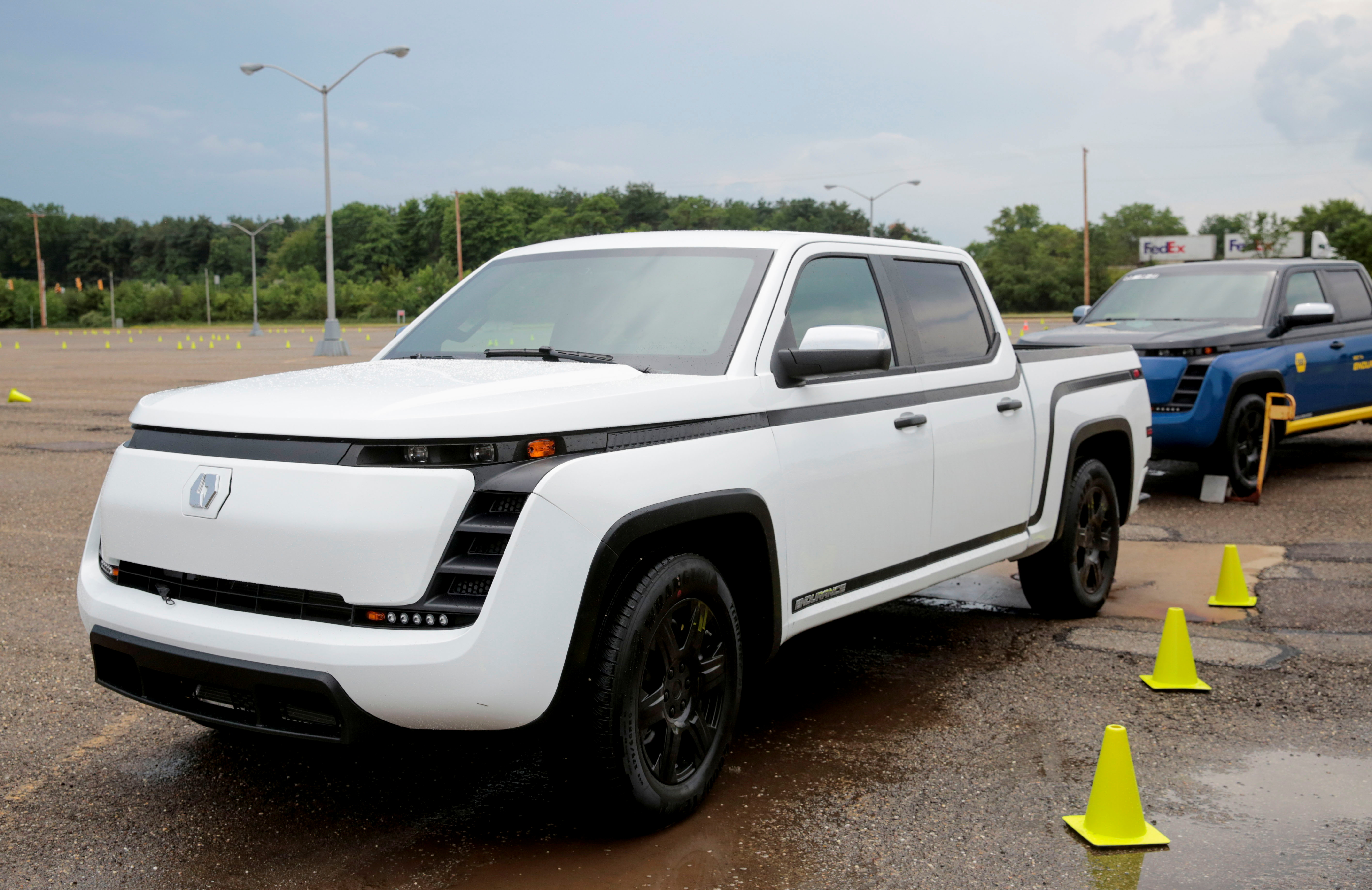 A Lordstown Motors beta version of its all electric pickup truck, the Endurance, is seen at the Lordstown Assembly Plant in Lordstown, Ohio, U.S., June 21, 2021. REUTERS/Rebecca Cook