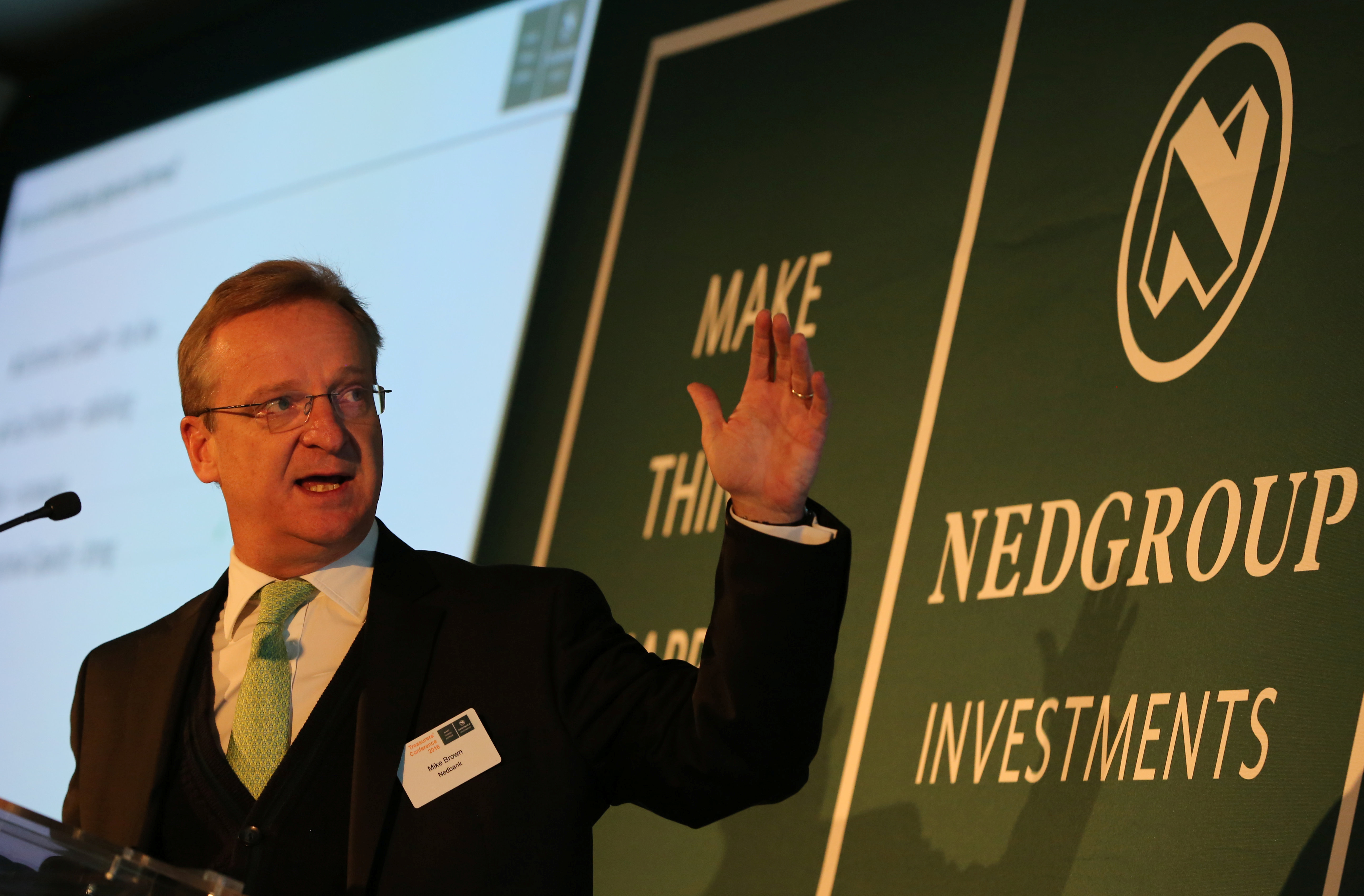 Mike Brown,Chief Executive Officer of Nedbank Group Limited gestures during  their annual Treasurer's Conference in Johannesburg South Africa , May 26,2016. REUTERS/Siphiwe Sibeko