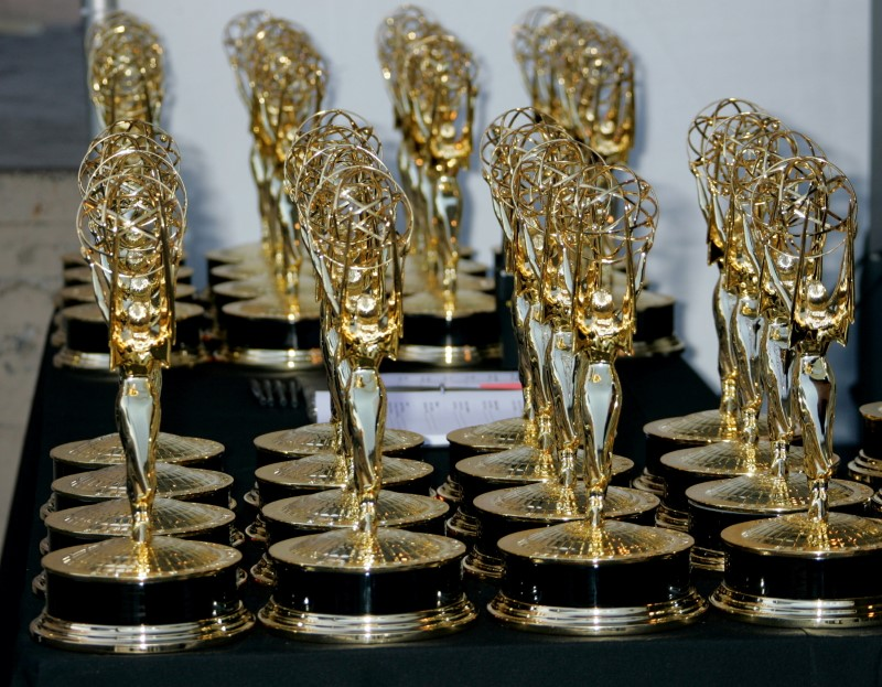 Rows of Emmy Award statuettes are seen at the 2006 Creative Arts Emmys in Los Angeles August 19, 2006. REUTERS/Fred Prouser  (UNITED STATES/File Photo