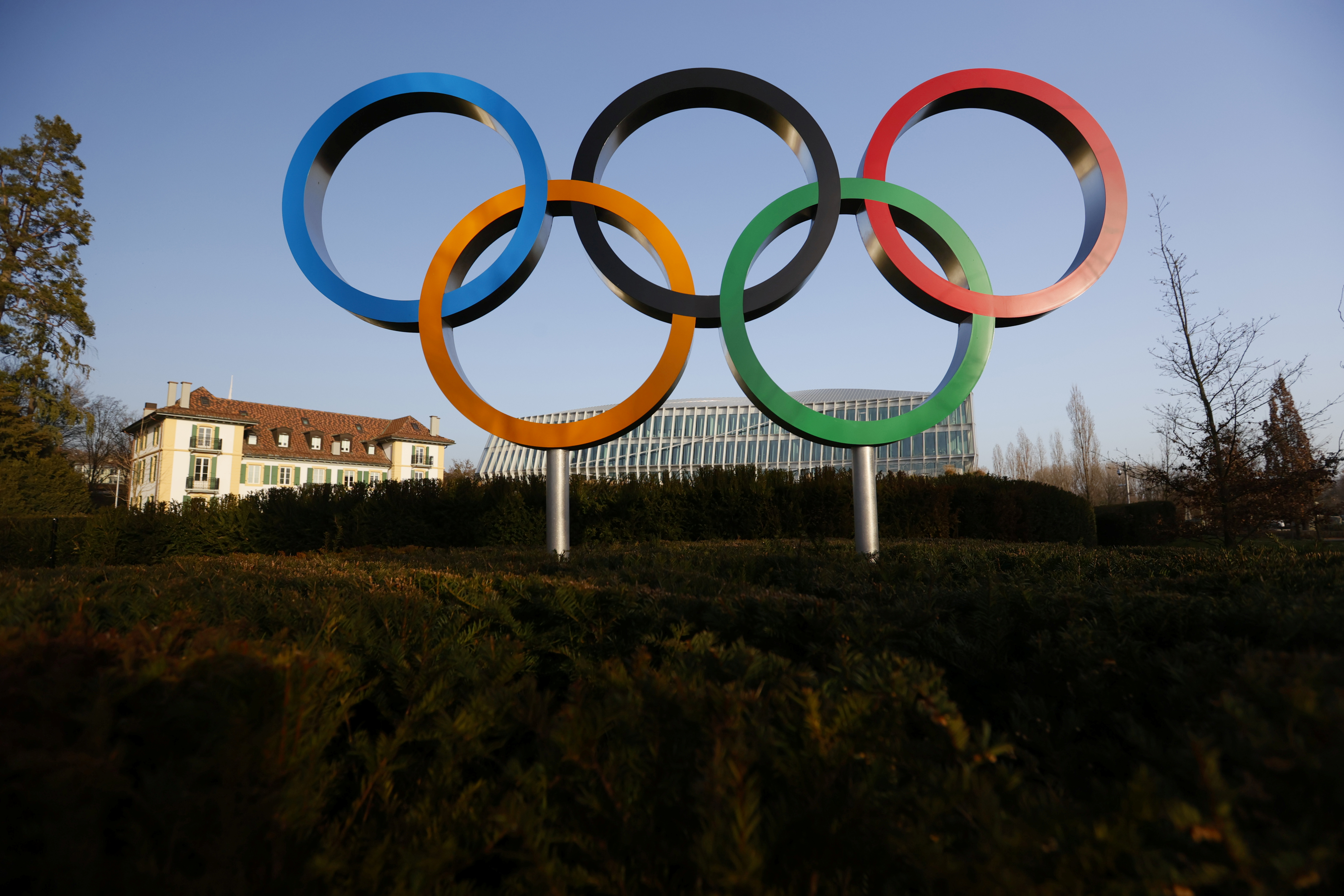 The Olympic rings are pictured in front of the International Olympic Committee (IOC) headquarters during the coronavirus disease (COVID-19) outbreak in Lausanne, Switzerland, February 24, 2021. REUTERS/Denis?Balibouse