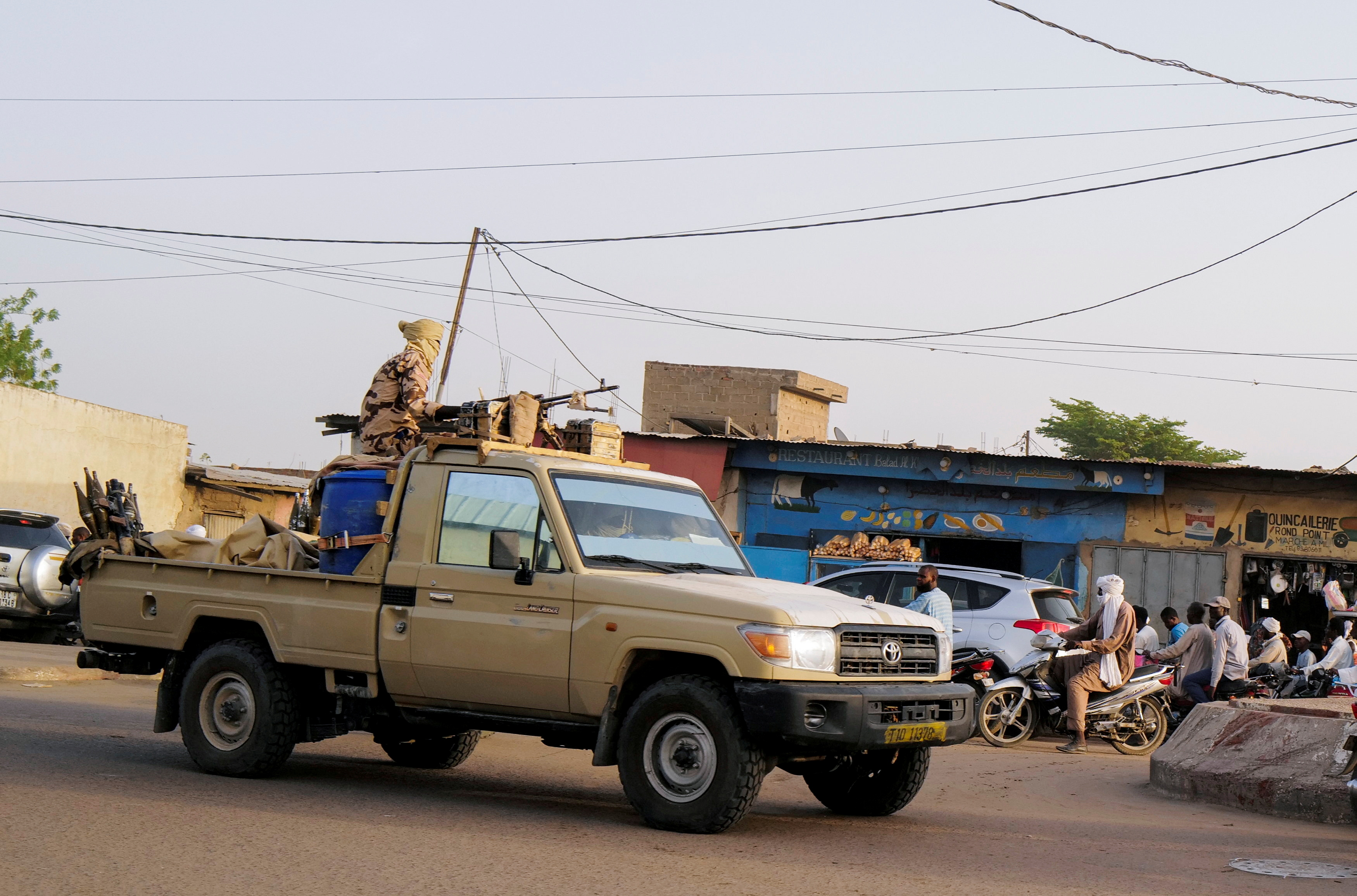 Members of the security forces patrol Chad's capital N'Djamena following the battlefield death of President Idriss Deby in N'Djamena, Chad April 26, 2021. REUTERS/Zohra Bensemra/File Photo
