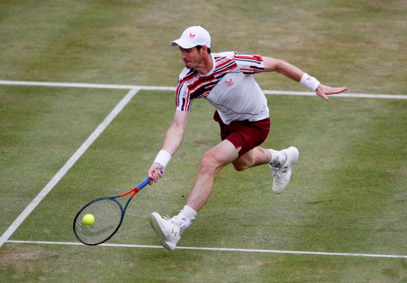 Tennis - ATP 500 - Queen's Club Championships - Queen's Club, London, Britain - June 17, 2021 Britain's Andy Murray in action during his quarter-final match against Italy's Matteo Berrettini Action Images via Reuters/Paul Childs