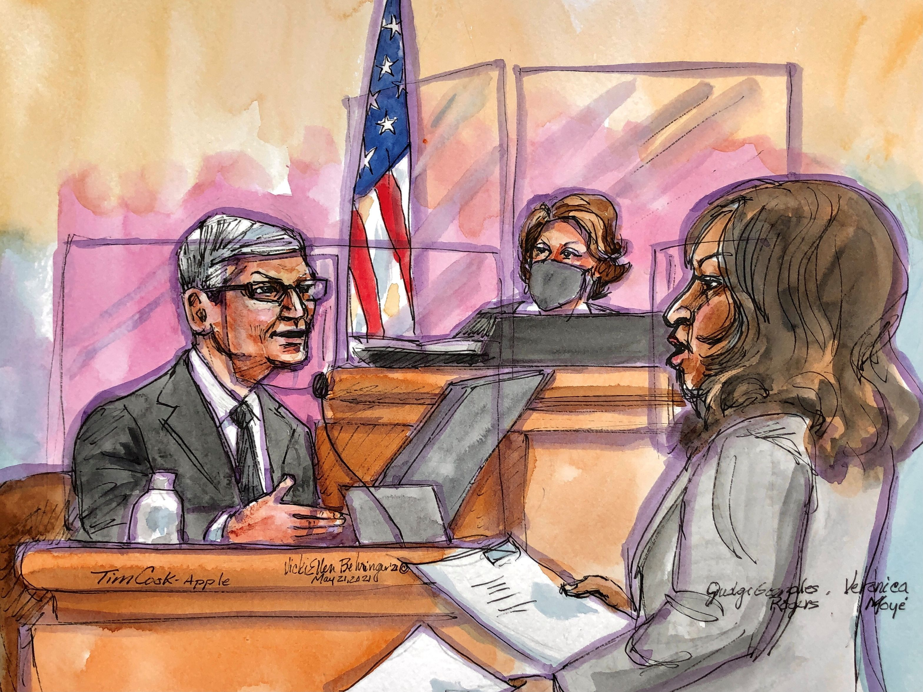 Apple CEO Tim Cook testifies on the stand during a weeks-long antitrust trial at federal court in Oakland, California, U.S. May 21, 2021. Cook on Friday told a court that threats to iPhone security and privacy required tight control of the App Store, which