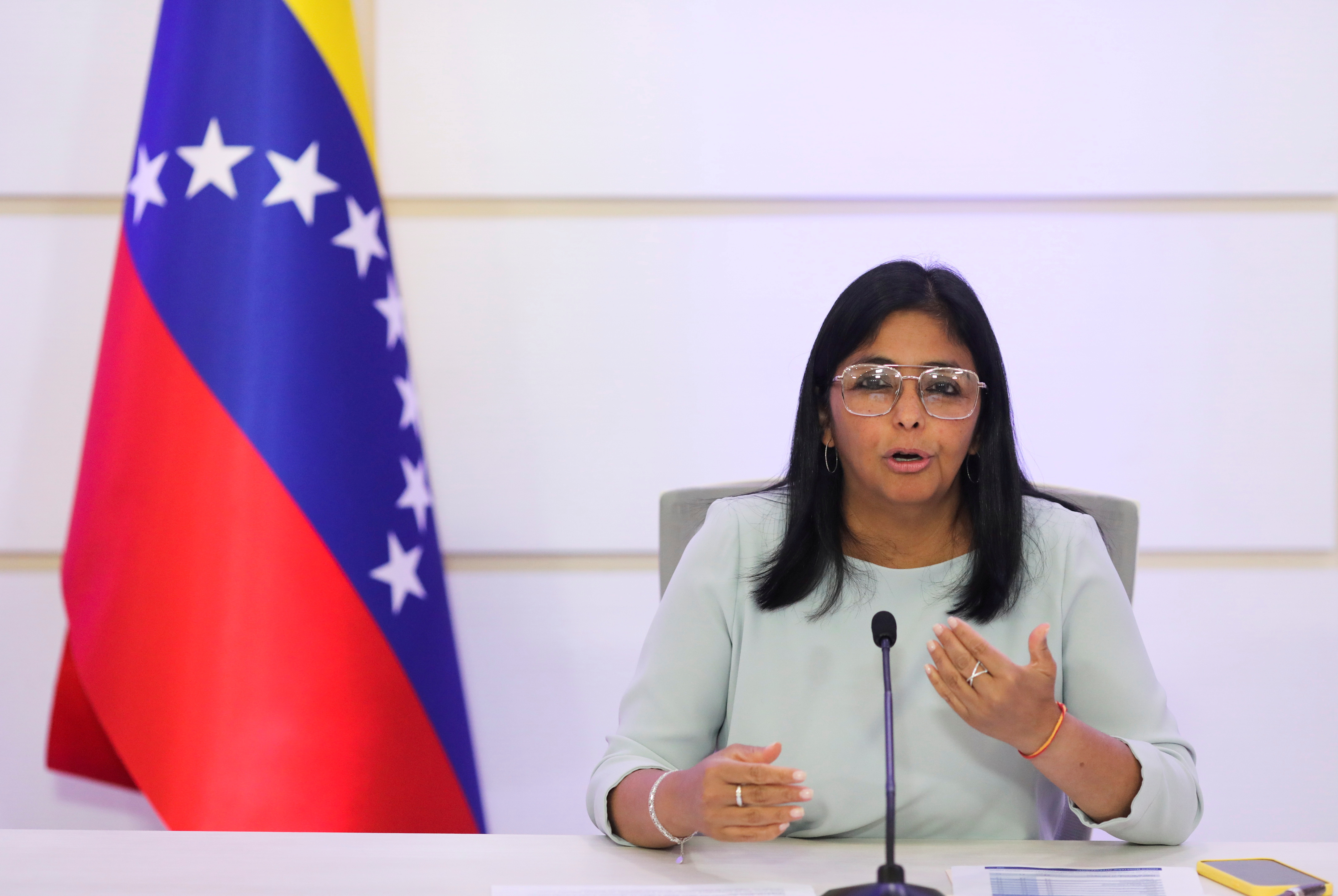 Venezuela's Vice President Delcy Rodriguez gestures as she speaks during a news conference in Caracas, Venezuela, April 7, 2021. REUTERS/Manaure Quintero