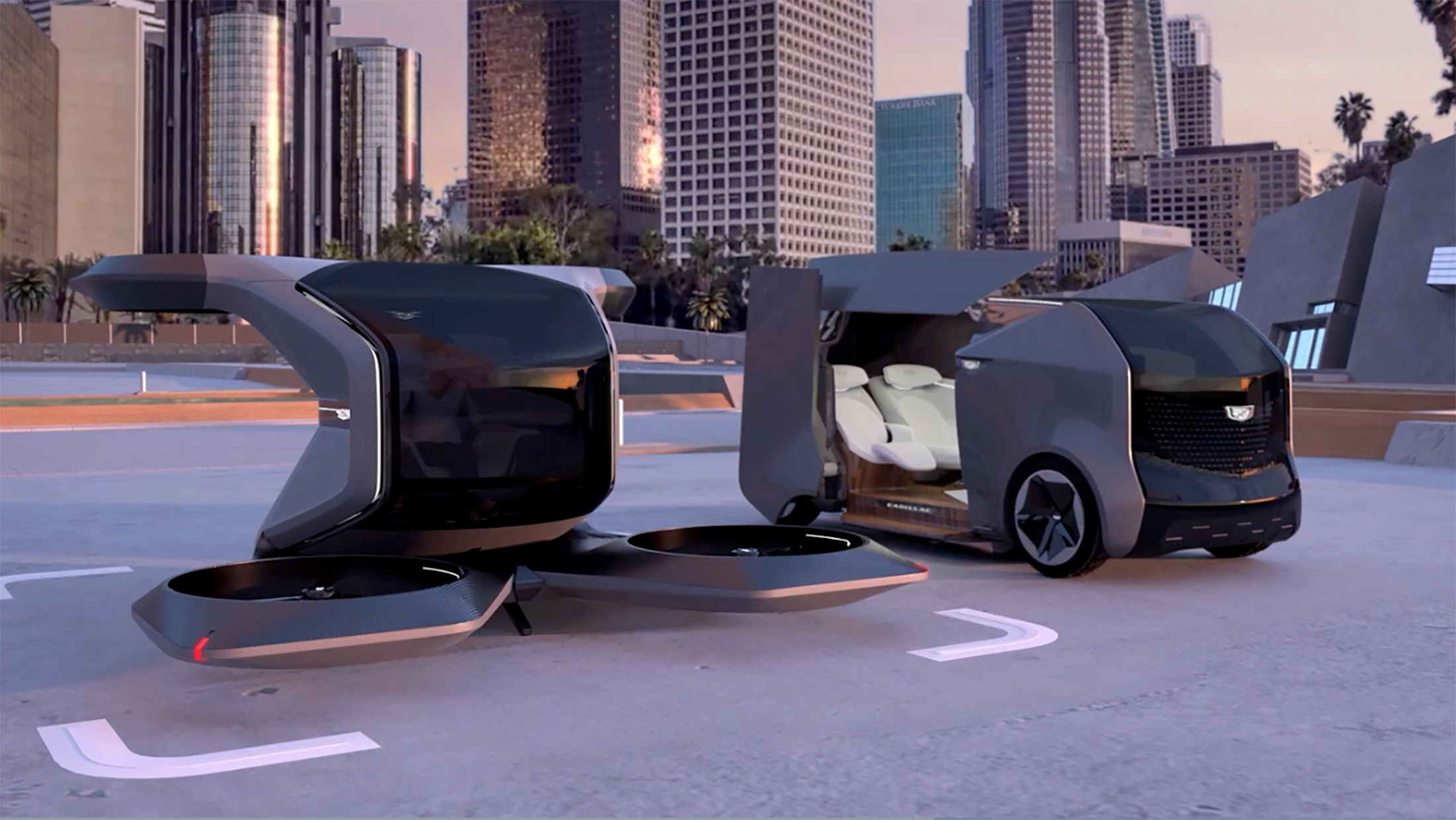 Two futuristic Cadillac concepts, an electric shuttle and an autonomous vertical take-off and landing (VTOL) drone, are seen in a still image from video presented by General Motors (GM) at the 2021 CES show on January 12, 2021.  GM/Handout via REUTERS
