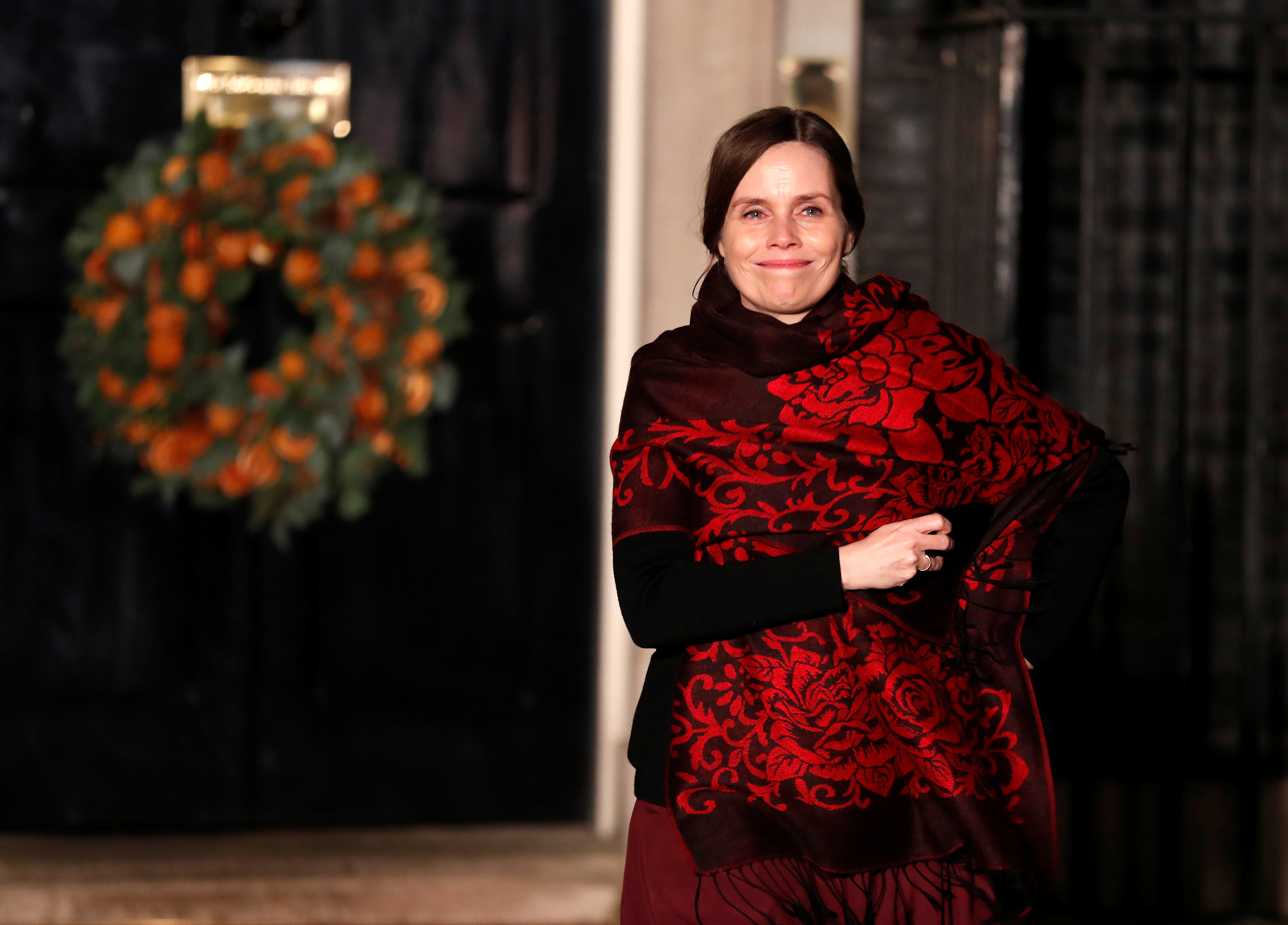 Iceland's Prime Minister Katrin Jakobsdottir leaves Downing Street after attending a reception hosted by Britian's Prime Minister Boris Johnson, ahead of the NATO summit in Watford, in London, Britain, December 3, 2019. Alastair Grant/Pool via REUTERS