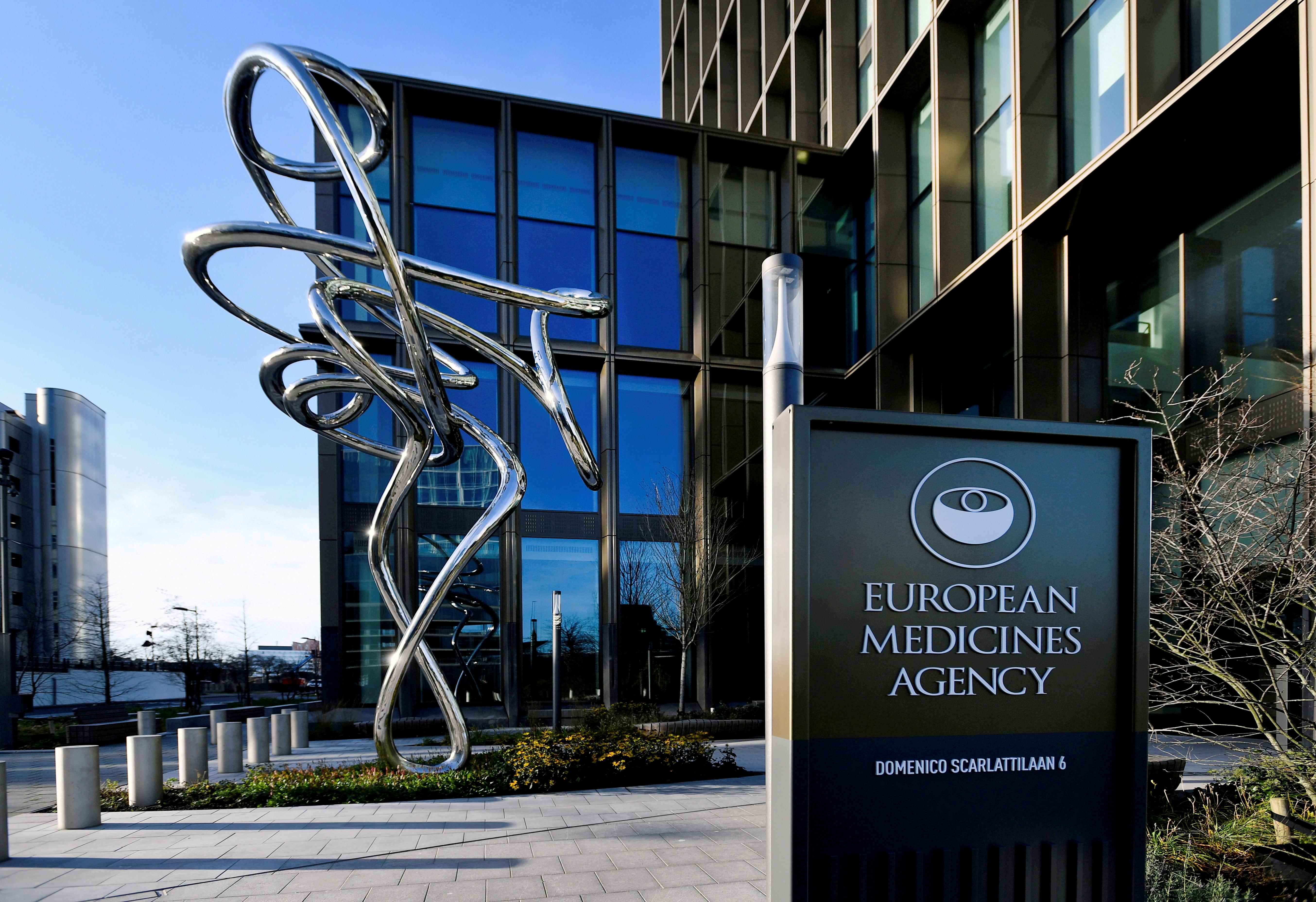 The exterior of the European Medicines Agency is seen in Amsterdam, Netherlands, December 18, 2020. REUTERS/Piroschka van de Wouw/File Photo