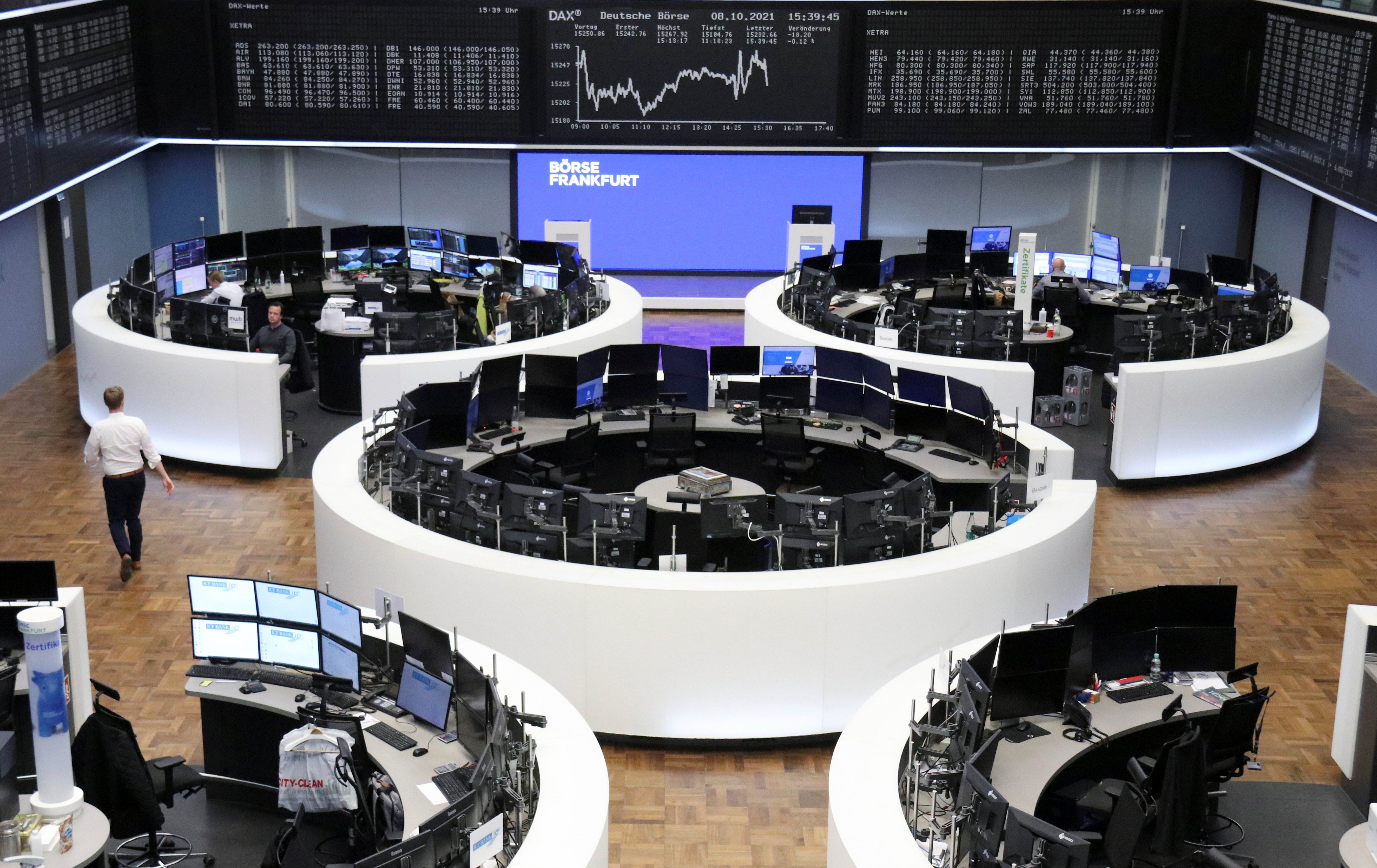 The German share price index DAX graph is pictured at the stock exchange in Frankfurt, Germany, October 8, 2021. REUTERS/Staff