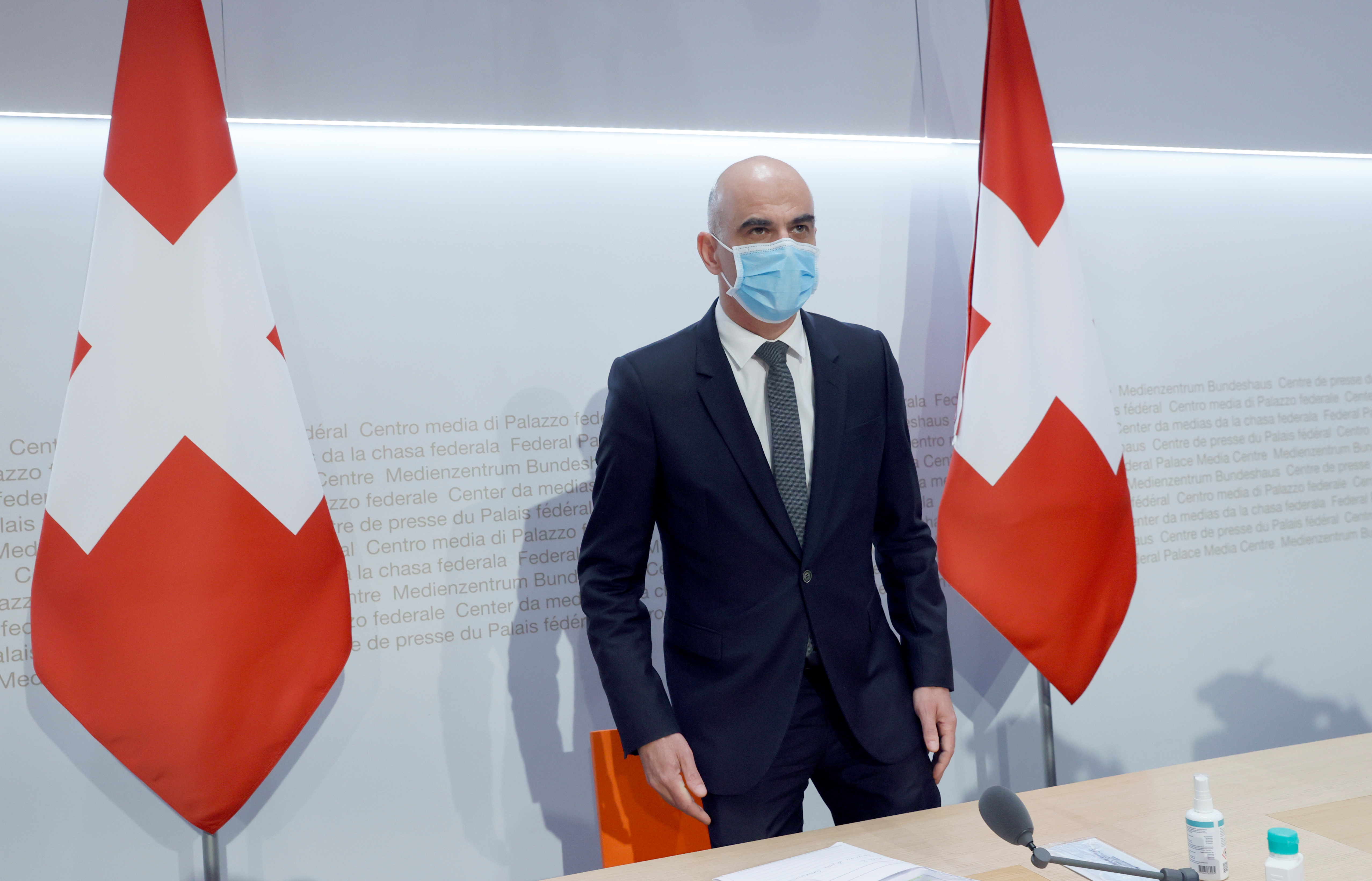 Swiss Interior Minister Alain Berset attends a news conference on the outbreak of the coronavirus disease (COVID-19) in Bern, Switzerland, January 6, 2021. REUTERS/Denis Balibouse