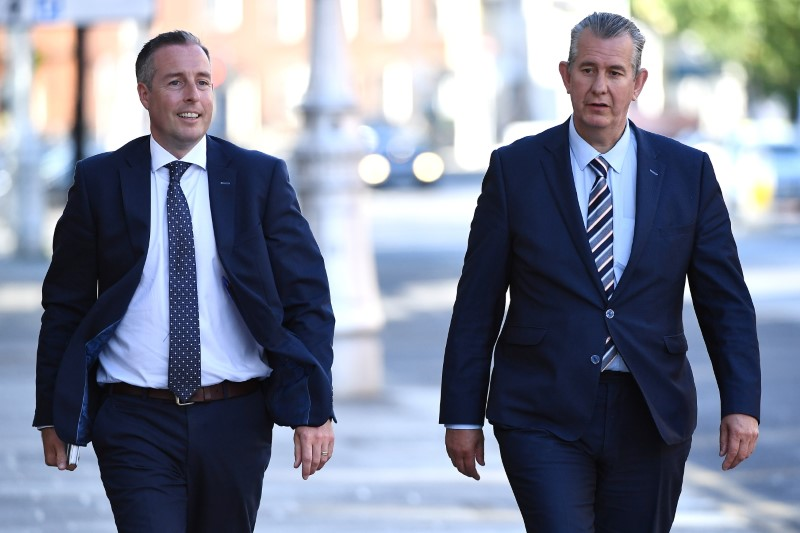 Leader of the Democratic Unionist Party (DUP) Edwin Poots and Paul Givan arrive at Government Buildings in Dublin, Ireland June 3, 2021. Picture taken June 3, 2021. REUTERS/Clodagh Kilcoyne/File photo