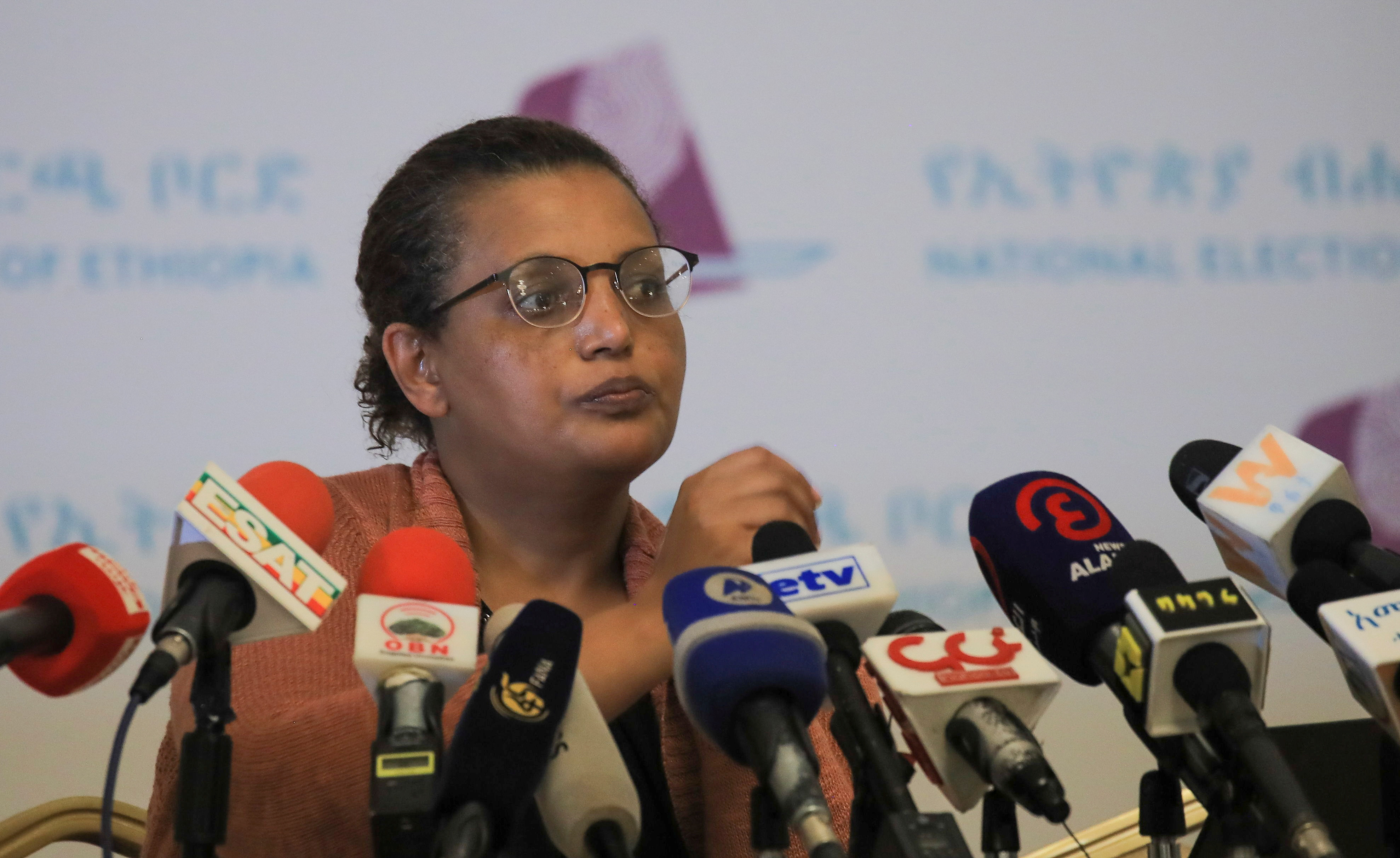 National Electoral Board of Ethiopia Chairperson, Birtukan Mideksa attends a news conference on the preparation of the upcoming National Election in Addis Ababa, Ethiopia June 10, 2021. REUTERS/Tiksa Negeri
