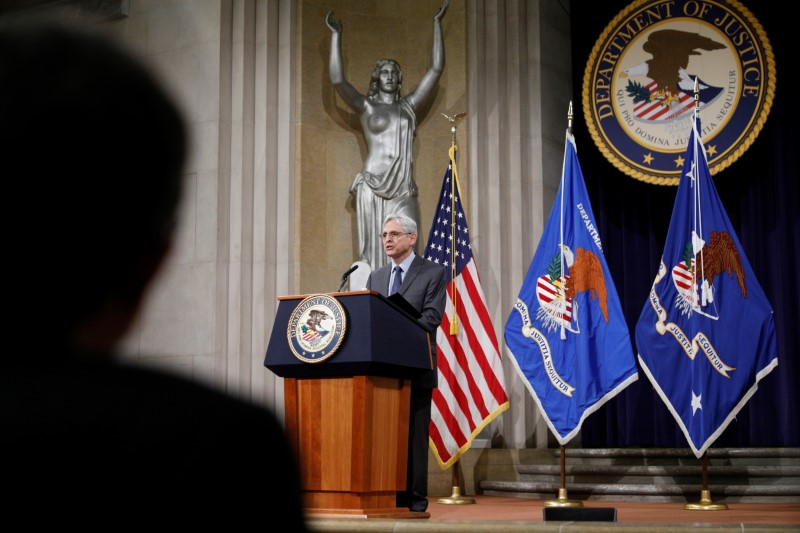 U.S. Attorney General Merrick Garland delivers remarks on voting rights at the U.S. Department of Justice in Washington, U.S., June 11, 2021. Tom Brenner/Pool via REUTERS