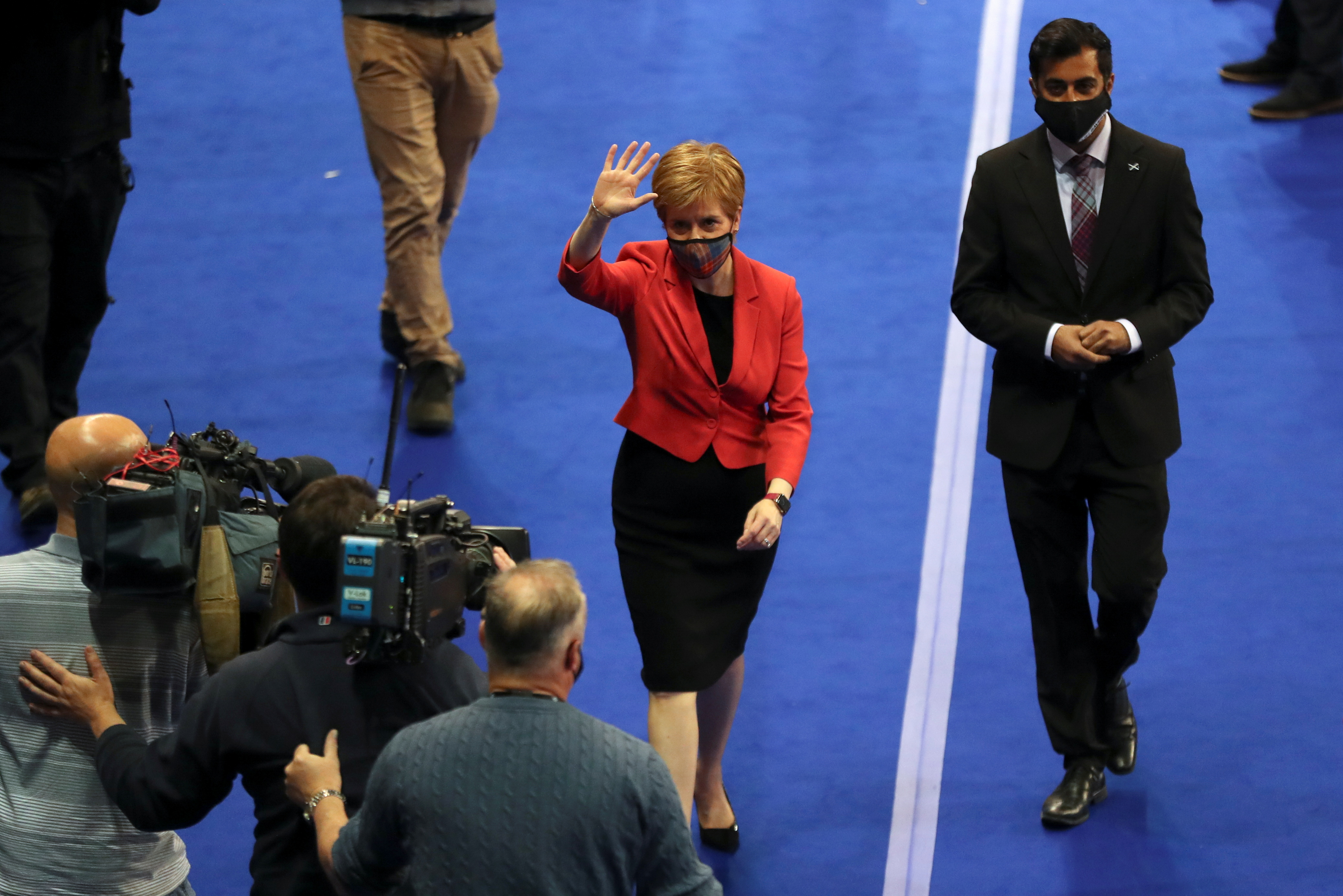 Scottish First Minister Nicola Sturgeon visits a counting centre as votes are counted for the Scottish Parliamentary election, in Glasgow, Scotland, Britain, May 7, 2021. REUTERS/Russell Cheyne