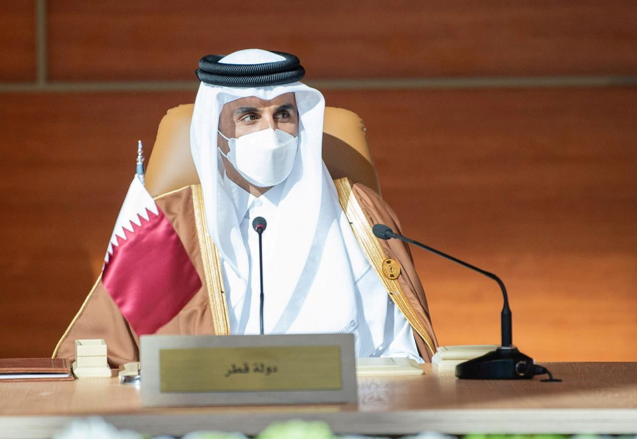 Qatar's Emir Sheikh Tamim bin Hamad al-Thani attends the Gulf Cooperation Council's (GCC) 41st Summit in Al-Ula, Saudi Arabia January 5, 2021. Bandar Algaloud/Courtesy of Saudi Royal Court/Handout via REUTERS ATTENTION EDITORS - THIS PICTURE WAS PROVIDED BY A THIRD PARTY